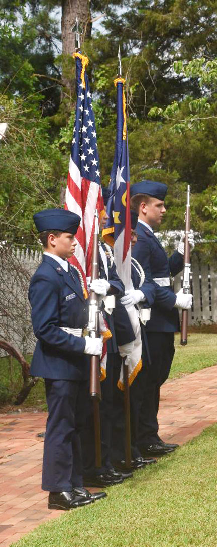A color guard unit presents the American flag at last year's naturalization ceremony at Harmony Hall. This year's ceremony is at 9 a.m. on Thursday. Photo by Linda Whittington / Neuse News