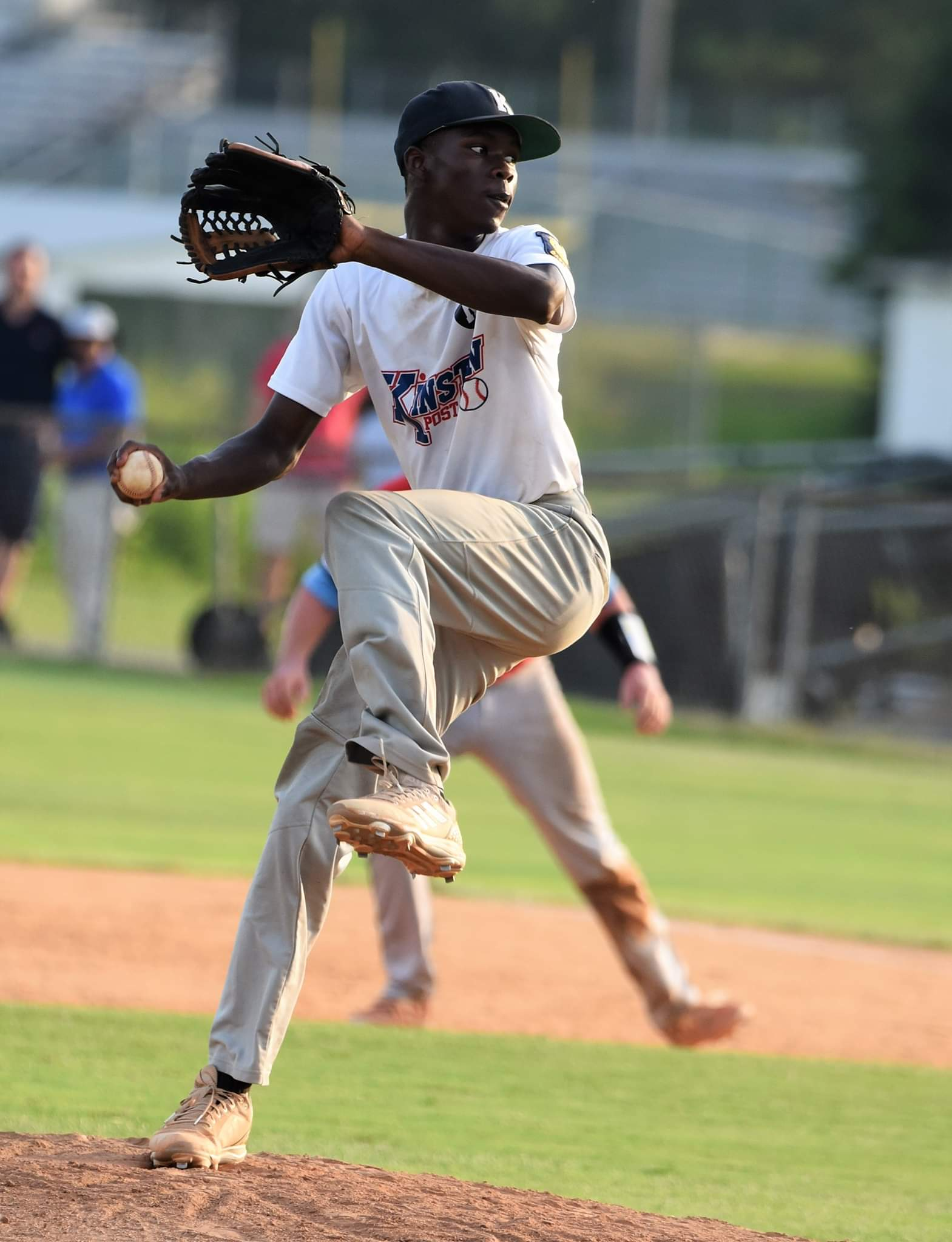 Kinston Post 43's Jamir Jones-Gatling threw 3 1/3 innings of relief in Game 3 of the team's 8-6 win over Pitt County Post 39. Photo by William 'Bud' Hardy / Neuse News