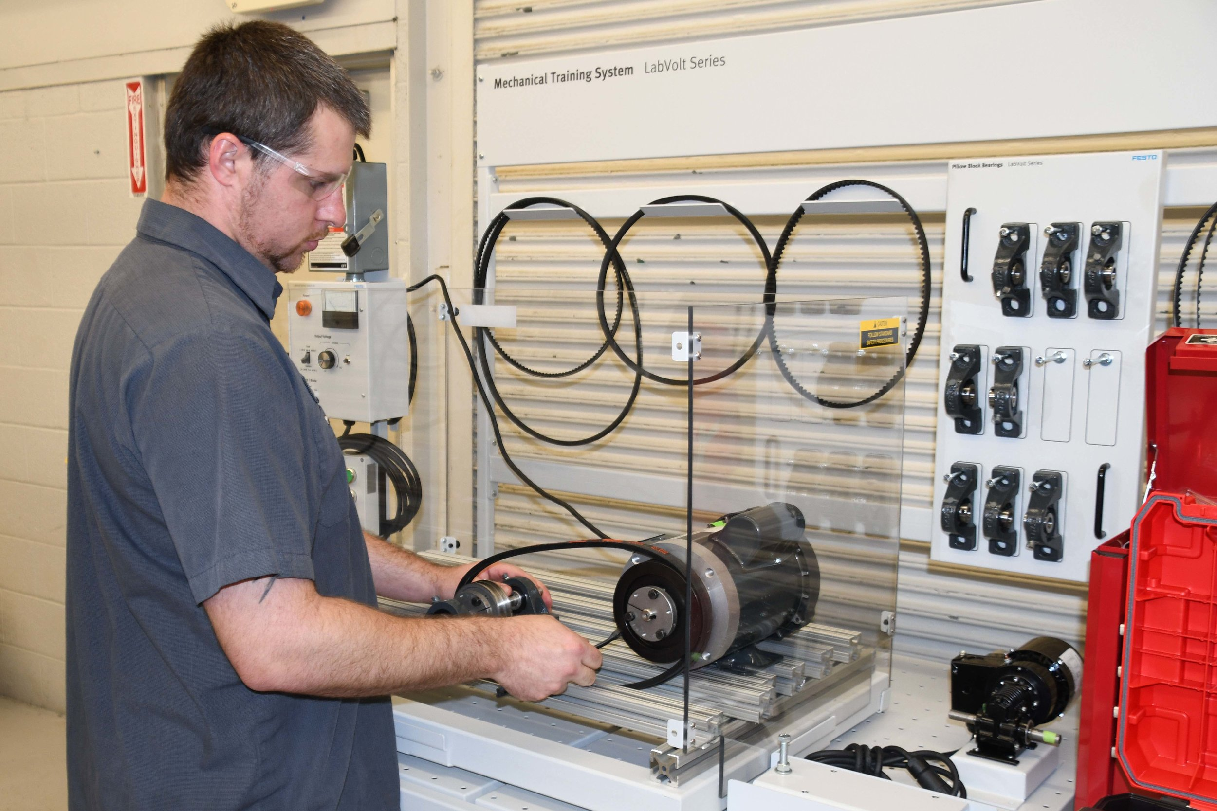 Jeff Mobley of Beulaville is working on a mechanical systems trainer. Submitted photo