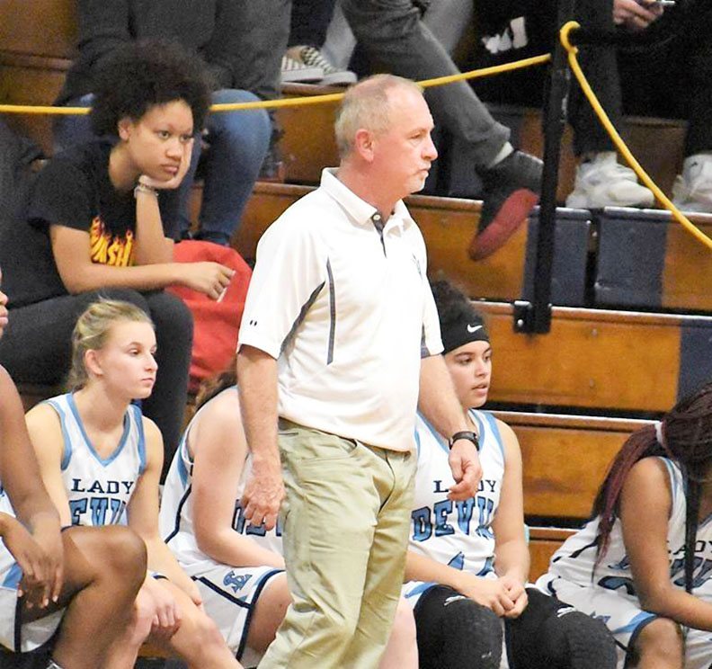 South Lenoir head girls' basketball coach Donald Mooring. Photo by William 'Bud' Hardy