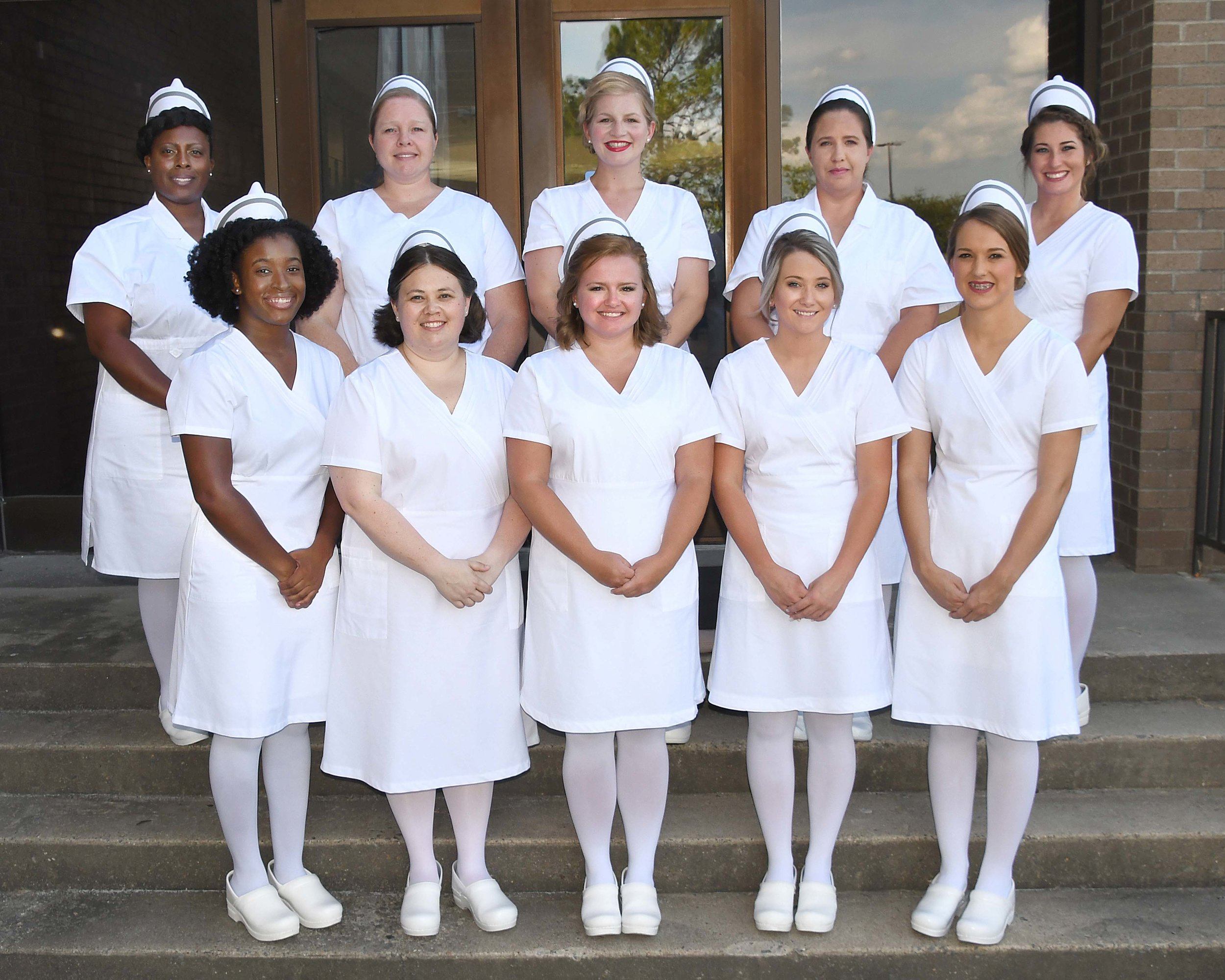 PRACTICAL NURSING CLASS OF 2019  – Pictured left to right, front row, are Aaliyah Shanice Wade of La Grange, Jennifer Naomi Estrada of Deep Run, Katherine Leigh Spence of Snow Hill, Courtney Nicole Wiggins of La Grange, and Nina Mae Byrd of La Grange; back row, Maryam Sinoria Steele of Goldsboro, Adrienne Lane Rogers of Kinston, Lauren Renée Bio of Pikeville, Karen Melinda Thomas of Trenton, and Crystal Paige Sandoval of Kinston.
