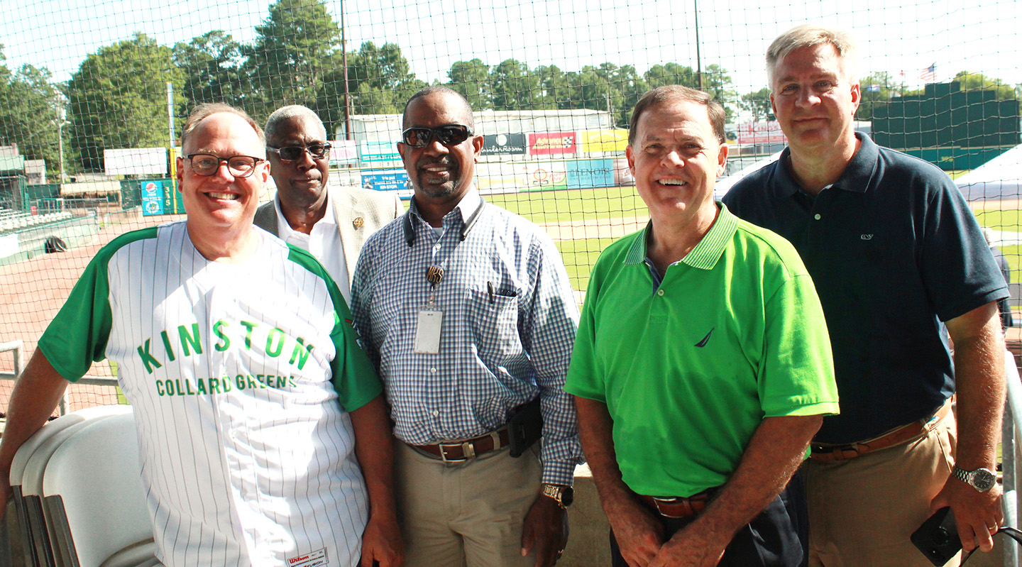 Lenoir County School Board, from left, Richard Bogan, W.D. Anderson, Merwyn Smith, Vice-Chair Bruce Hill and Chair Keith King