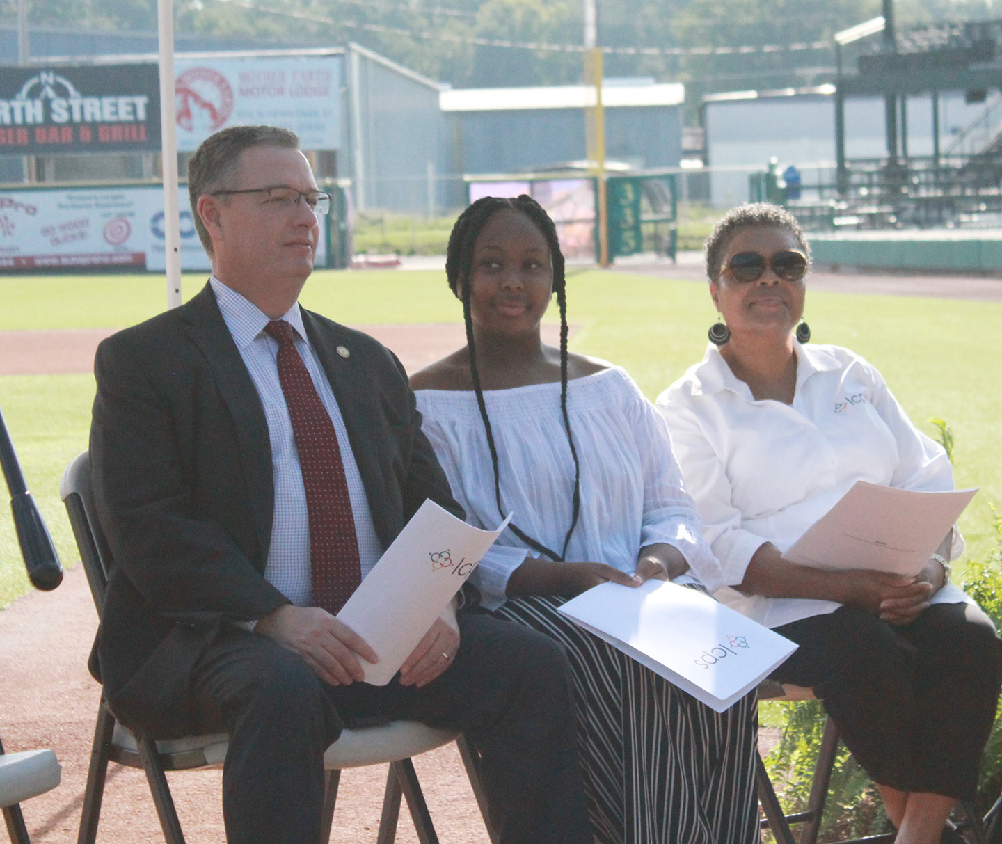 From left, N.C. Sen. Jim Perry (R-Lenoir), Lenoir County Early College High School senior Michael Adams and N.C. Association of Education Office Professionals President Sharron James-Bizzell