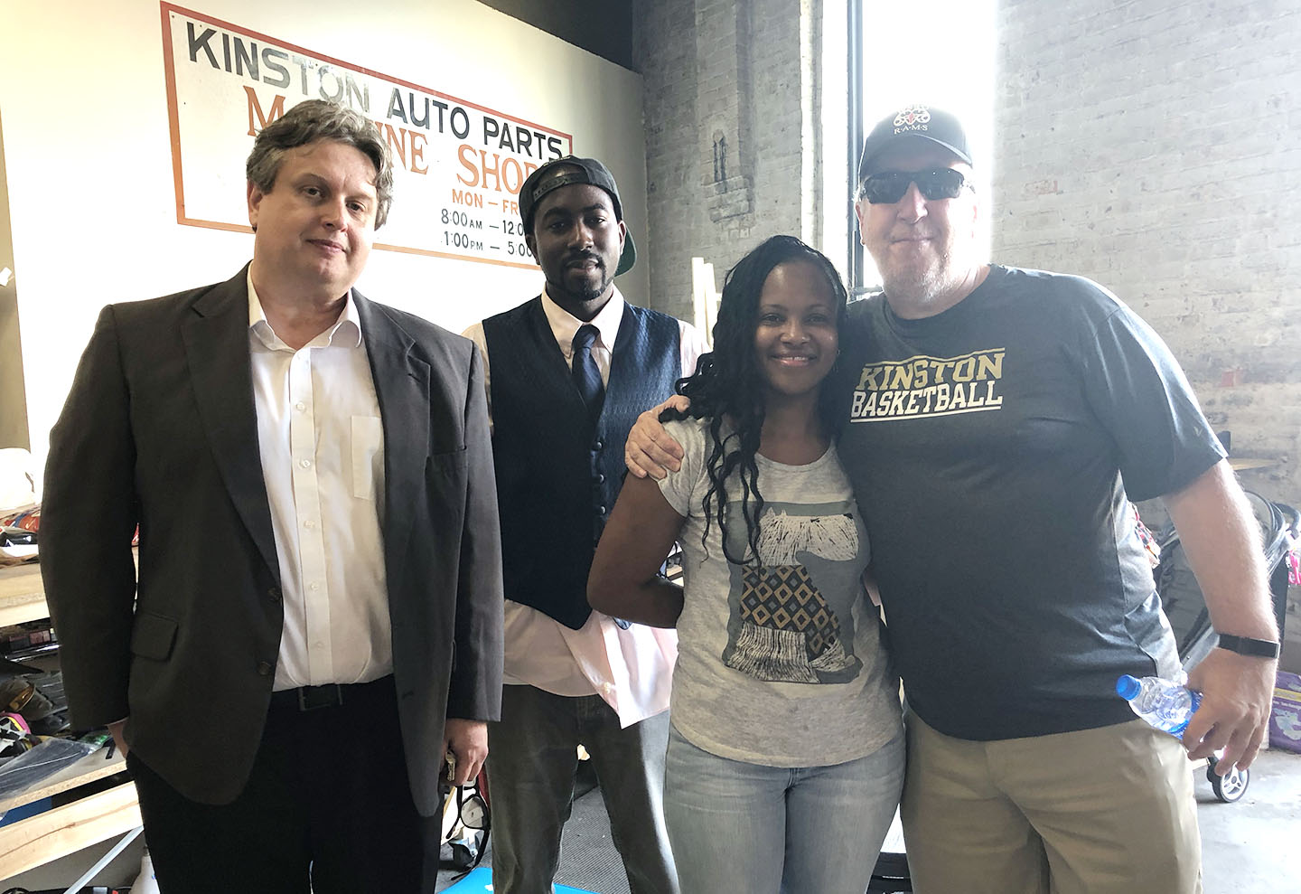 From left, Jon Dawson, Junious Smith III, Janet Sutton and the column's author pose for a photo on Aug. 1 during a Neuse News staff party. The quartet originally worked together for a local newspaper but are now reunited with Neuse News. Photo by Linda Whittington / Neuse News