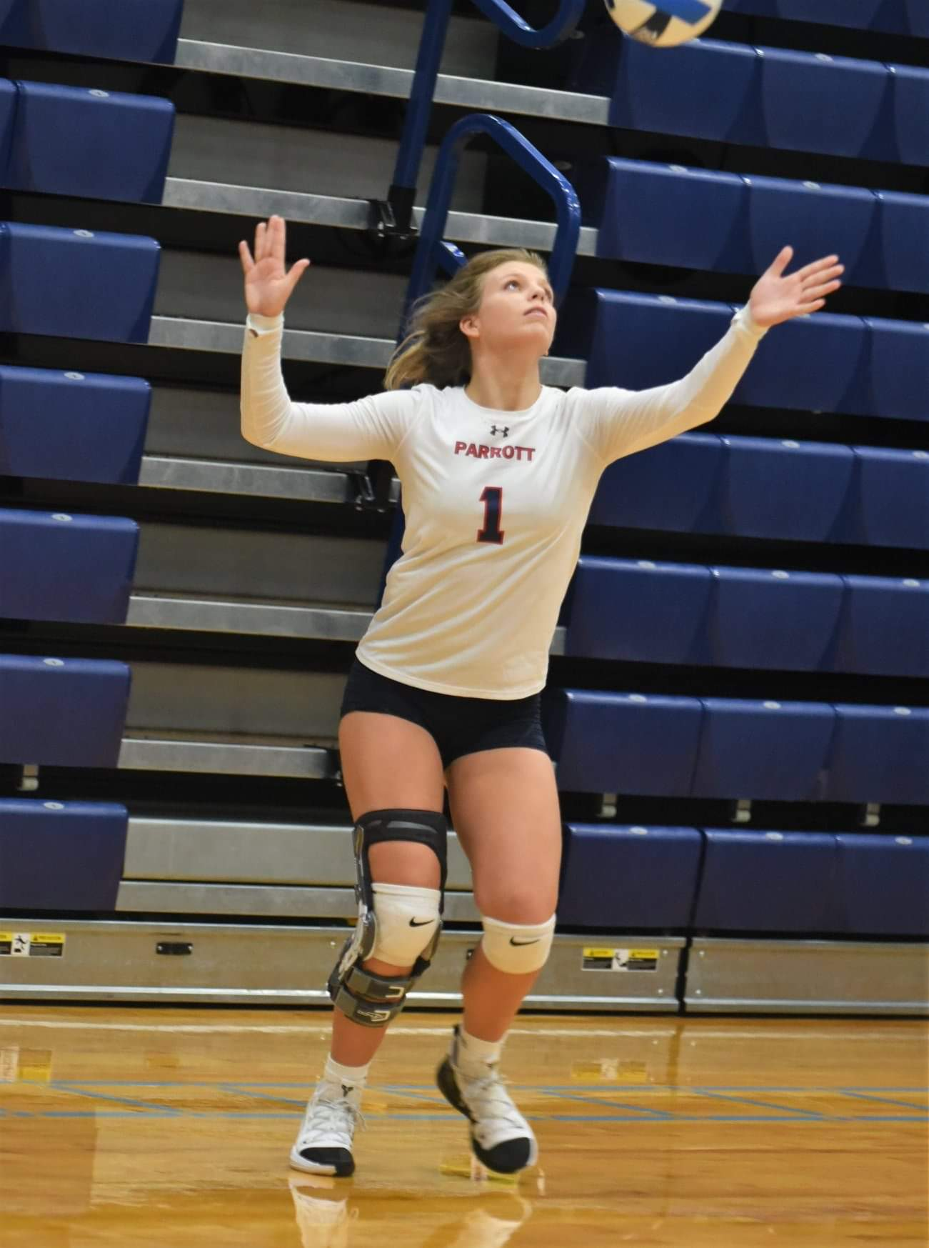 Arendell Parrott's Virginia Edmondson serves during the Jessica Ramsey Memorial Tournament Saturday. Photo by William 'Bud' Hardy / Neuse News