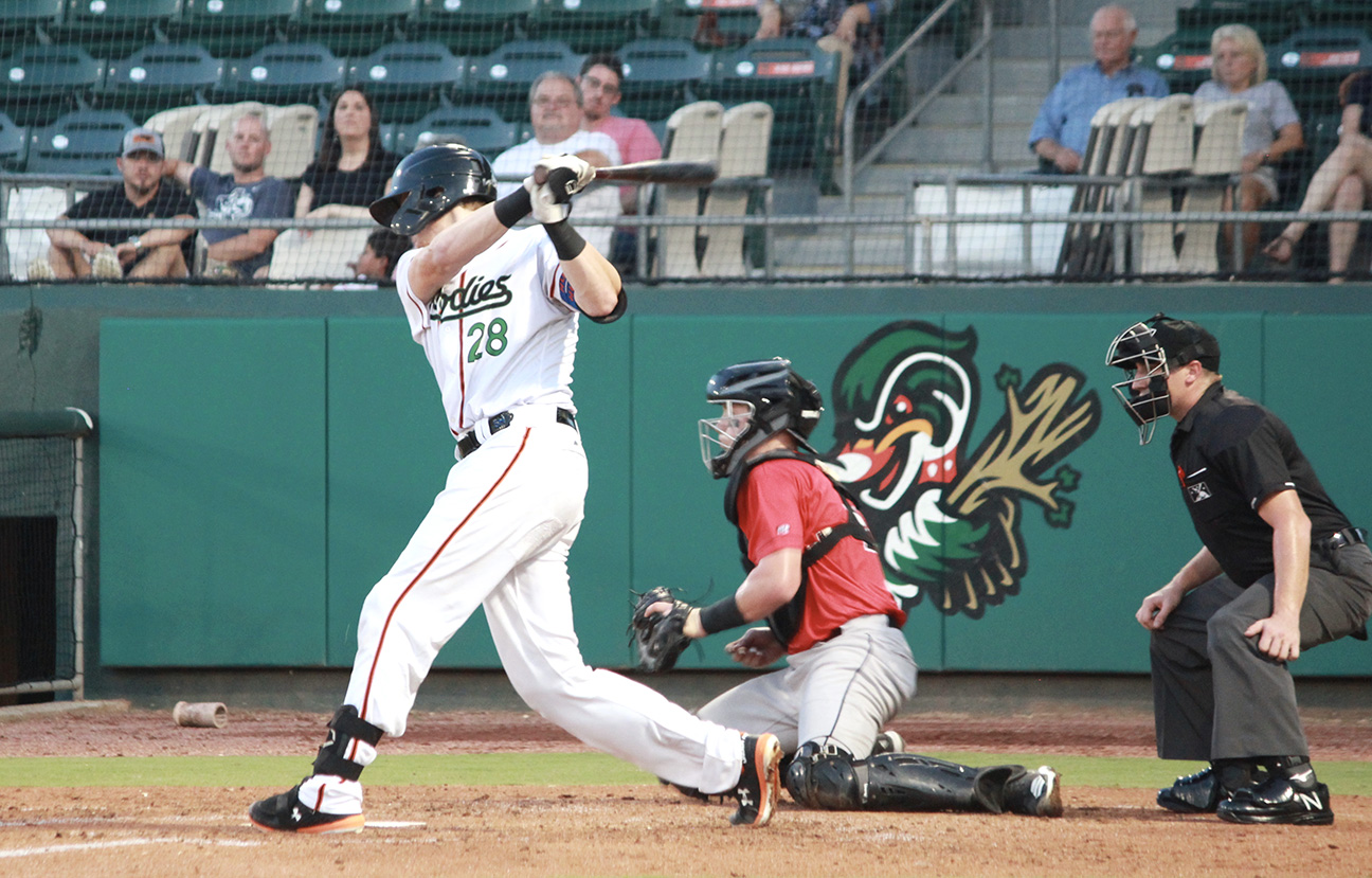 Sam Huff, one of the stars of the Down East Wood Ducks, takes a swing during a game this week at Historic Grainger Stadium. Photo by Linda Whittington / Neuse News