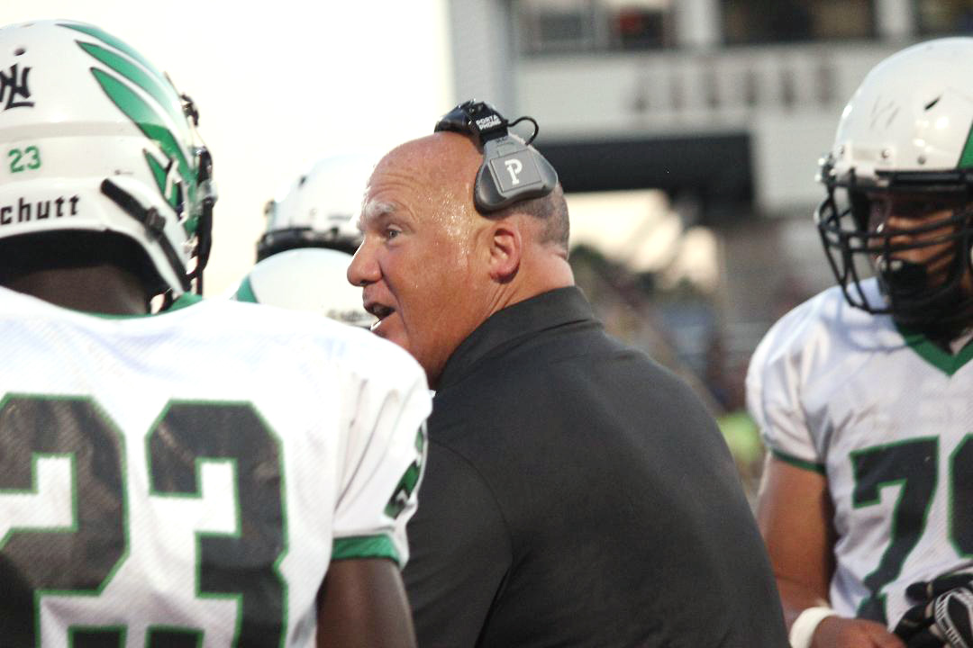 North Lenoir coach Jim Collins talks to his team during Friday's game. Photo by Linda Whittington / Neuse News