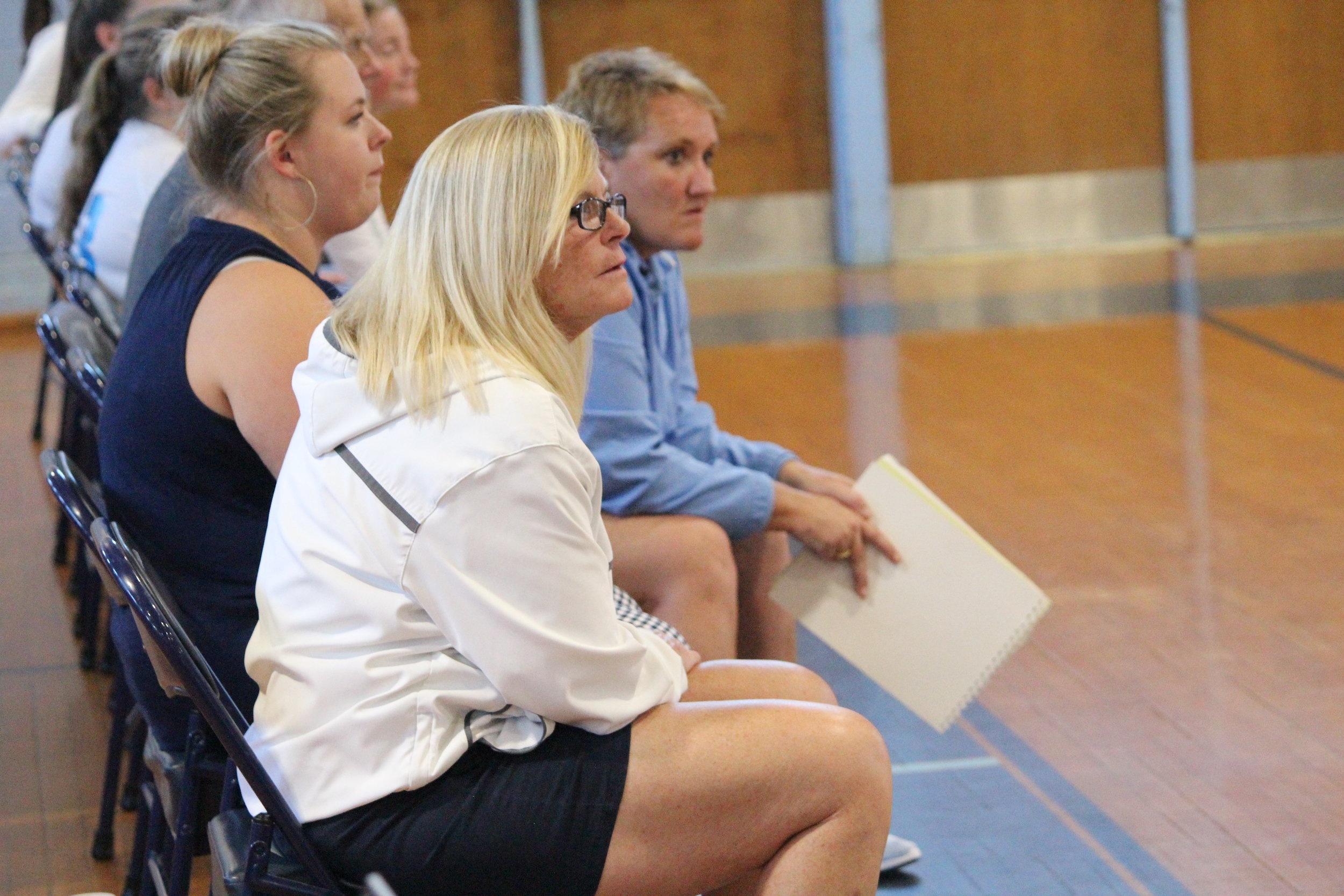 South Lenoir head volleyball coach Lisa Smith looks on as her squad took down Kinston in straight sets on Tuesday evening. Photo by Laieke Abebe / Neuse News