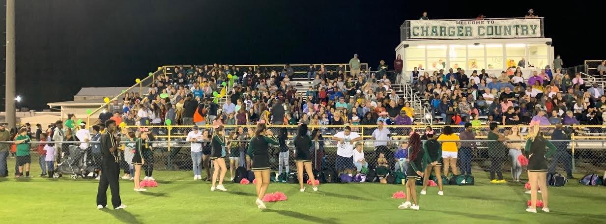 A standing-room-only crowd turned on Ayden-Grifton's side of the field for its homecoming celebration Friday evening. West Craven handed the Chargers a 34-23 loss. Photo by Rudy Coggins / Neuse News