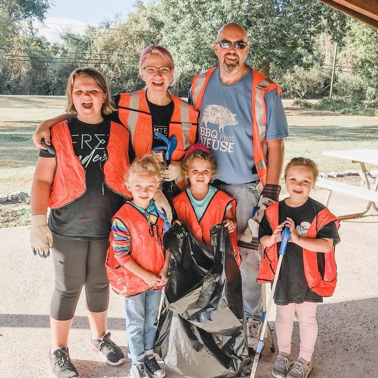 The Towne family along with several Girl Scouts getting ready to the annual fall clean-up event at Neuseway Nature Center. Picture courtesy of Stephanie Towne.