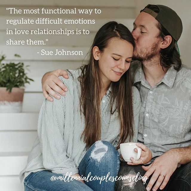 There are a lot of ways we try to regulate difficult emotions in our relationship that may feel good or right in the moment but ultimately leave us feeling worse about our relationship and more distant from our partner. This can look like blaming or criticizing or for others it might look like shutting down and getting quiet. But underneath these behaviors is a desire to be soothed by and connected to our partner. The sharing of vulnerable underlying emotions with our partner can be one of the scariest but also the most validating experience we can have in a relationship when our partner responds with empathy. 💕