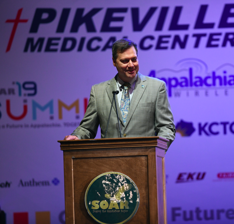 Tim Thomas, federal co-chair of the Appalachian Regional Commission (ARC), announced a $500,000 grant to Shaping Our Appalachian Region, Inc. (SOAR) at the 2019 SOAR Summit on Friday, September 6, 2019, at the Appalachian Wireless Arena.