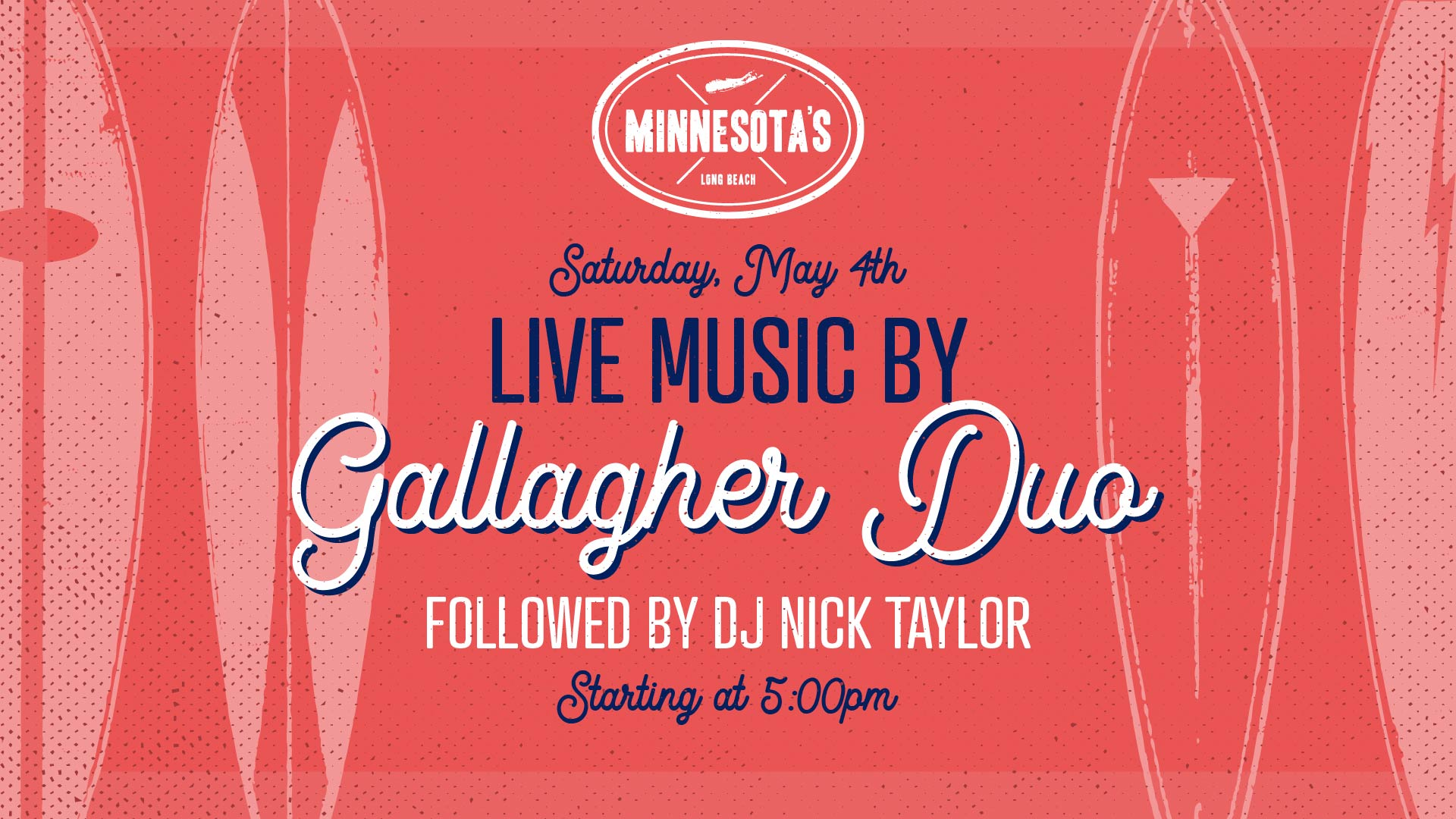 flyer for live music by gallagher duo at minnesota's on may 4th at 5pm
