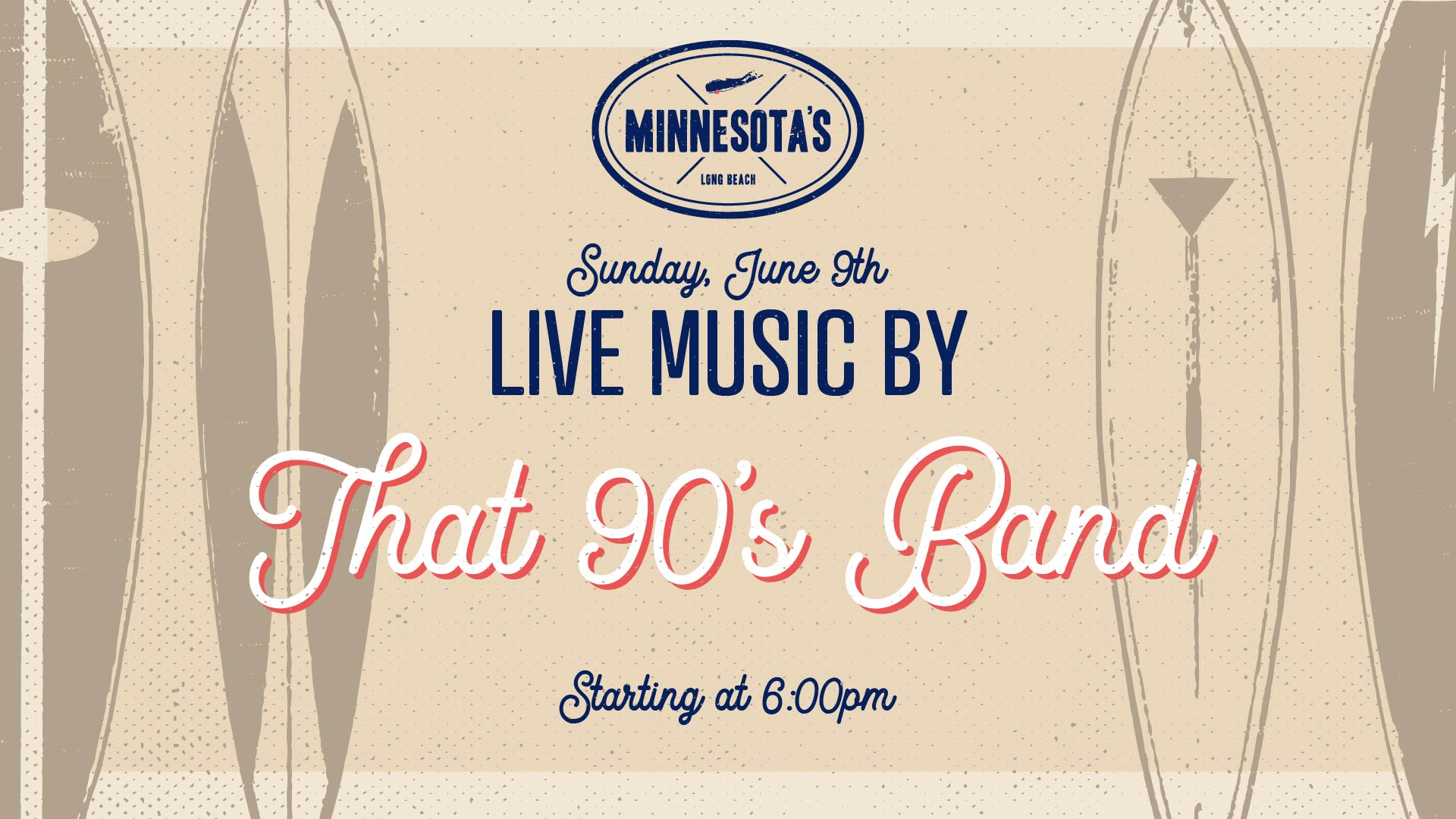 Flyer for that 90s band live at minnesotas on june 9th starting at 6pm