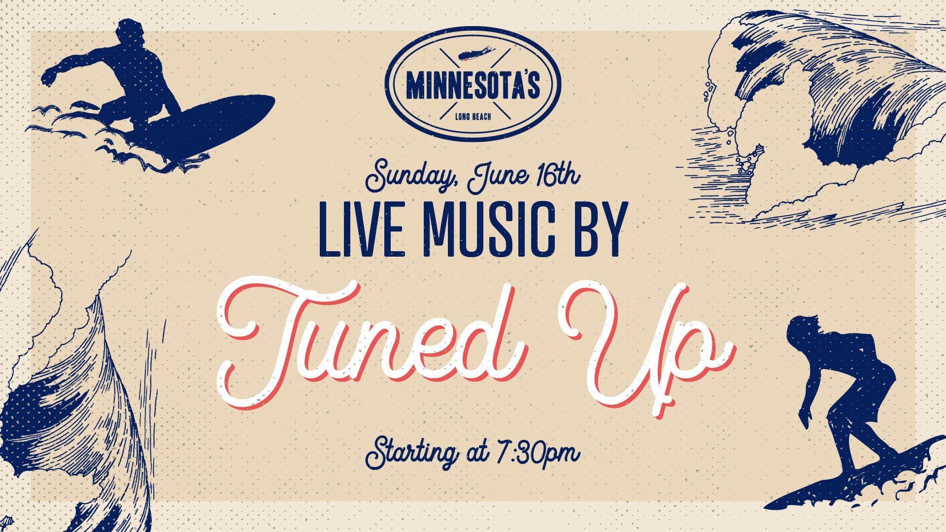 flyer for live music by tuned up at minnesotas on june 16th at 7:30pm