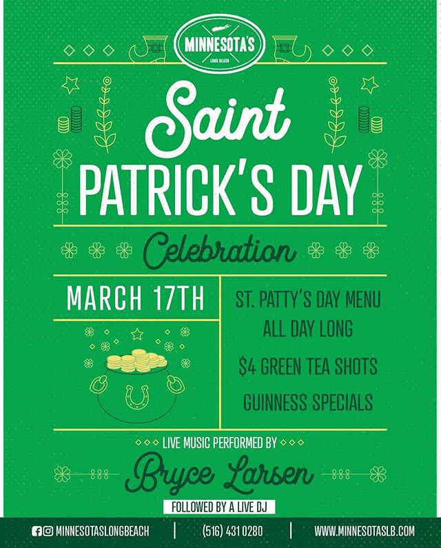 We're only ten days away from our St. Patrick's Day party, break out your best green outfit and come hang with us this weekend! • @brycelarsenmusic • • • • #minnesotaslb #longbeach #lbny #longbeachnynotcalifornia #eatlocal #drinklocal #longisland #newyork #yougottaeatthis #LIEats #foodphotography #feedfeed #foodspotting #happytummy #longislandlife #travelfood #foodpornshares #happytummy #happyhour #dinner #bar #foodyfetish #bestfoodfeed #beachlife #discoverlongisland #delicious #summer #bar #beers #drinks