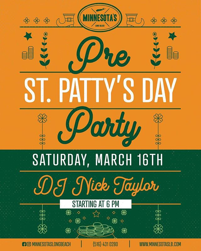 There's only one more week until our Pre-St. Patty's Day party. Kick it with us Saturday, March 16th and feel the luck of the Irish here in Long Beach.• • • • • #minnesotaslb #devourpower #longislandfoodie #foodpornshare #bestfoodworld #f52grams #foooodieee #insiderfood #lieats #lovefood #eatfamous #feastagram #foodbeast #munchies #nassau #tastinglongisland #longislandleisure #happyhour #soutshore #barrierisland #longisland #5towns #drinklongsialnd