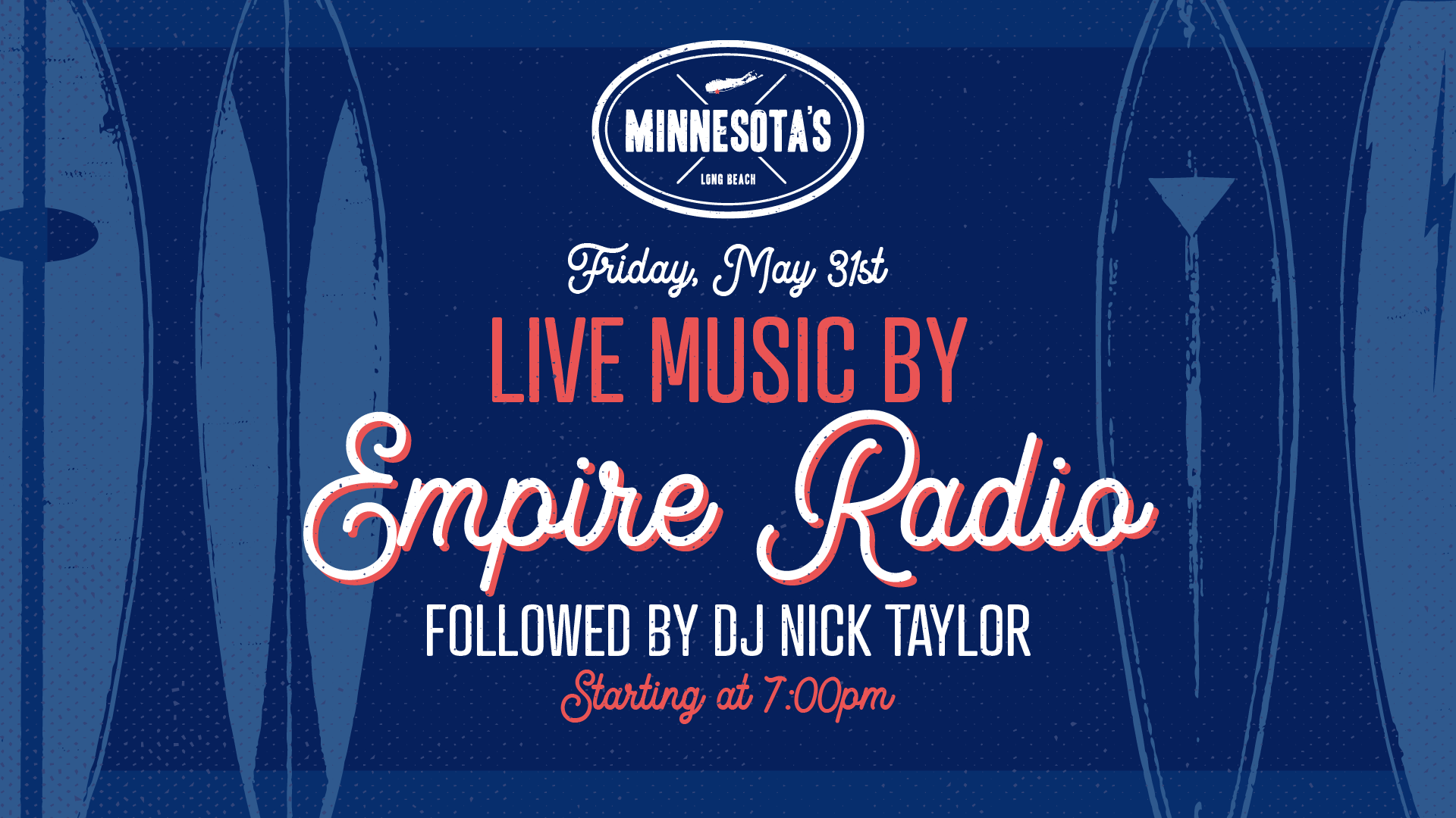 flyer for live music by empire radio at minnesotas on may 30th at 7pm
