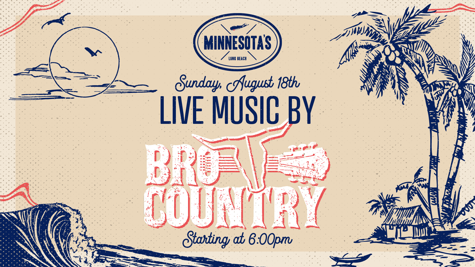 Live music with Bro Country on August 18th at 6 PM