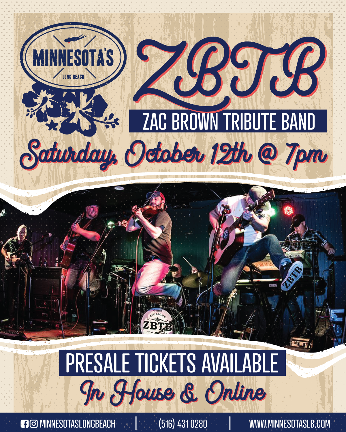 Poster for the Zac Brown Tribute Band at Minnesota's on October 12th at 7 PM