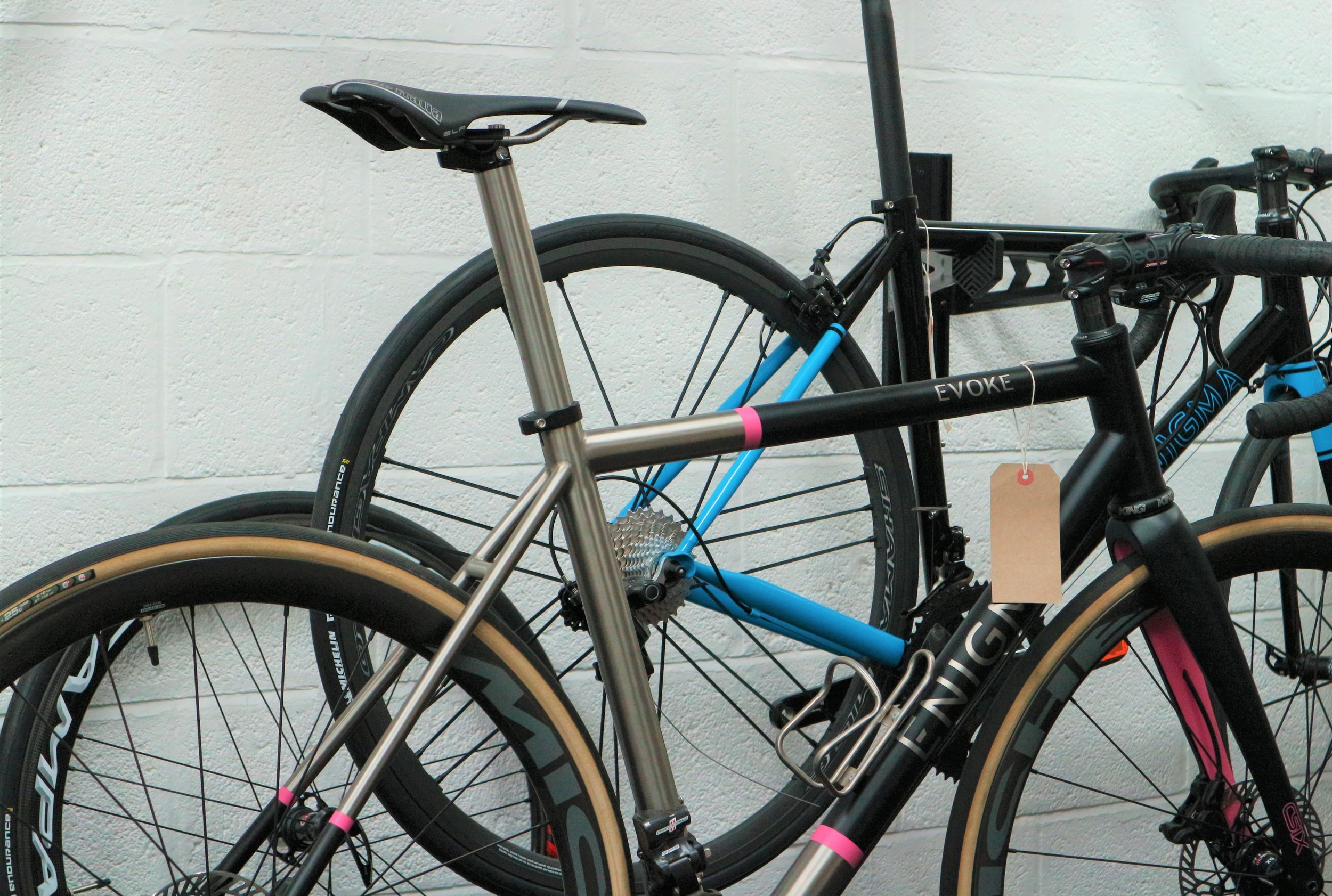 PMP Titanium Classic seatpost. 20mm layback and 31.6mm option shown here on Enigma Evoke.