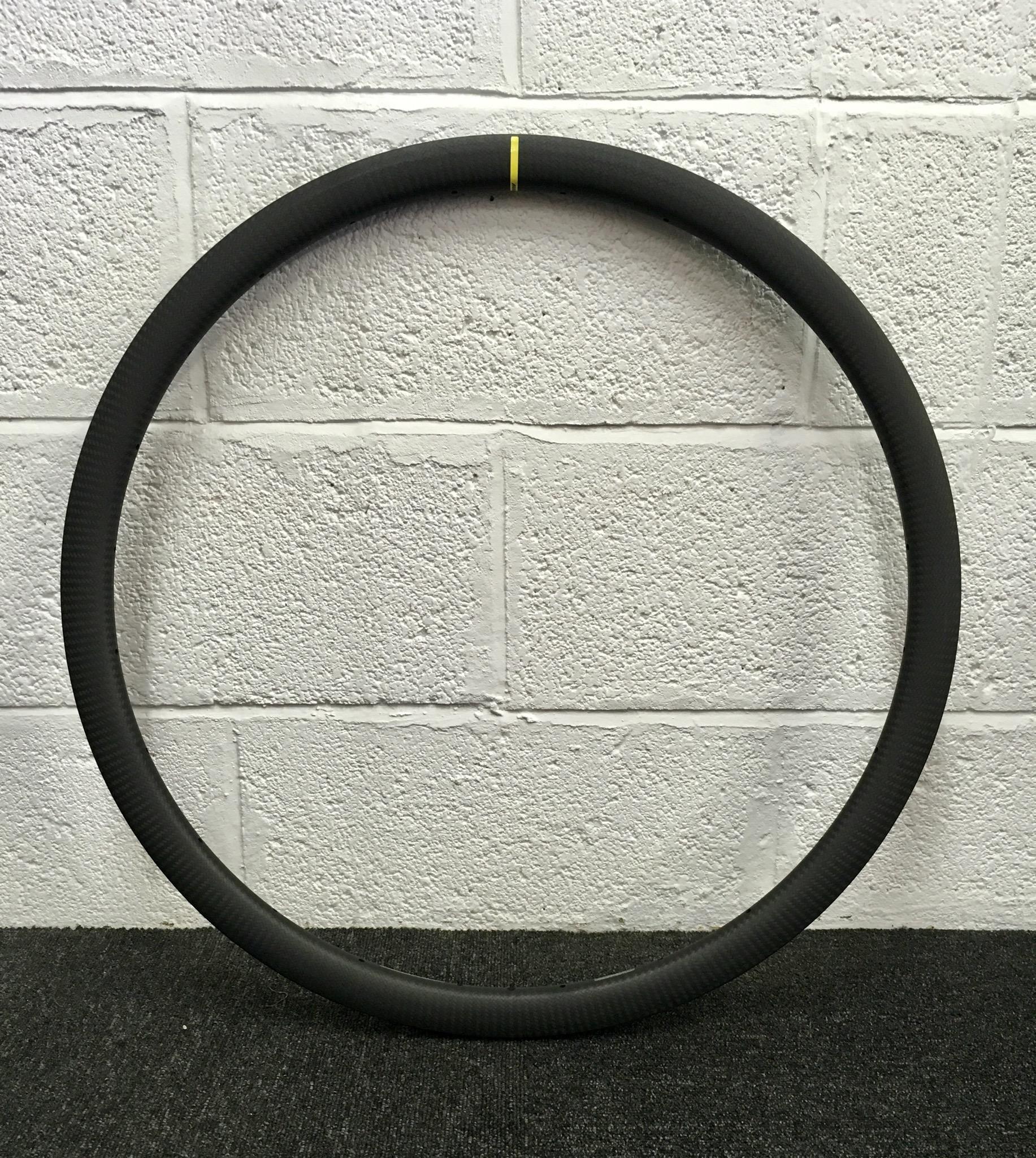 Mavic Open PRO Carbon disc rim (as used on the Ksyrium Carbon disc pro sl)  Rim weight 390g  Rim height 32mm  Cost £545 each rim