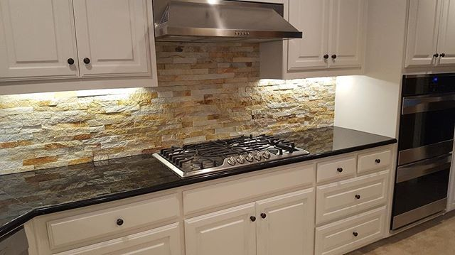 This project ended up looking FANTASTIC!  Our customer could not have been happier. By combining a natural stone backsplash with updated appliances and a sleek counter top you are able to seamlessly meld a traditional look with a touch of modern. #granitecountertops #backsplash #richardsontx #friscotx #mckinneytx #dallas #planotx #allentx