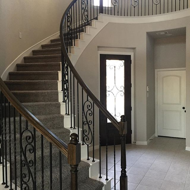 We just finished this house early in the week.  Not only did we install new tile and carpet, but we also installed the iron rod stairs. This is a wonderful way to add flair and eloquence to your home!  #homedecor #remodel #tile #stairs #richardsontx #mckinneytx #dallas #friscotx #allentx