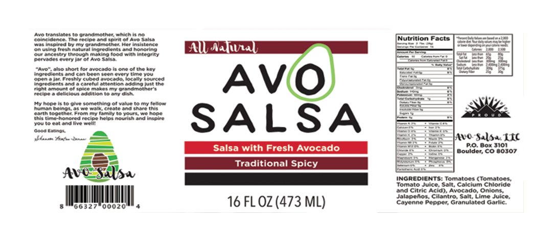 Compare this original version with the update: limited space on a label, as well as consumer attention span, demands efficiency and strategic grouping of information. In this case the founder's story was shortened. The ingredients list and other product info was consolidated. And finally, but also most obviously, the main focus of the label is the avocado photo — front row and center, grabbing attention amongst the other salsas on the shelf!