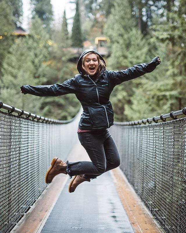 My friend Emily came up from Seattle to go to the famous Capilano Suspension Bridge! This is Vancouver's top attraction! Totally worth it, even in the pouring rain! --- The rest of the park is super cool too, so make sure you do it all! The trees are beautiful and I conquered my fear of heights many times over 😬 --- Emily can jump higher than me. My big backpack didn't help 😉
