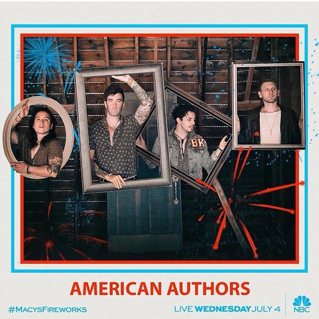 Hope you were able to catch  @americanauthors perform their new song #DeepWater on the @nbc Macy's Fourth of July Special! Co-written by @trentdabbs & @casoncooley 🇺🇸💥