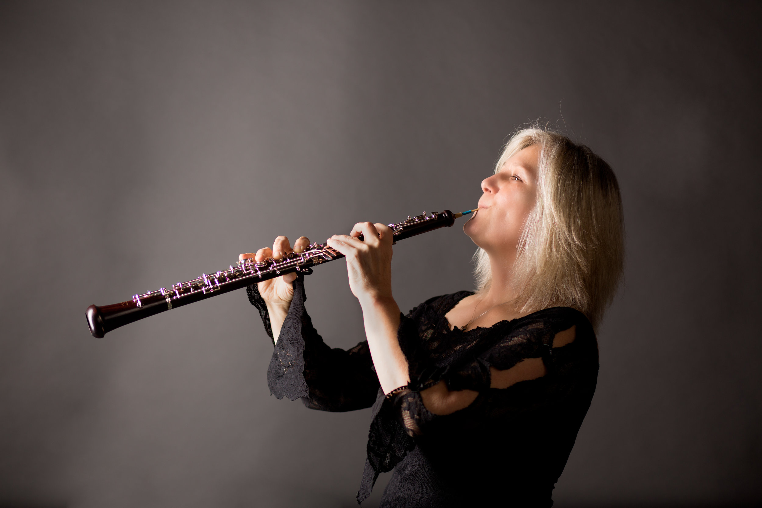 """Cheryl Wefler, principal oboe - Cheryl Wefler regularly performs with the Eugene Symphony, Oregon Mozart Players, Eugene Opera Orchestra and the Eugene Concert Choir, and other groups in Eugene and on the Oregon Coast. She has performed across the country in venues that have included Wolf Trap, Opera at John Jay, Cathedral of St. John the Divine, Opera Saratoga, numerous IDRS conventions around the country, premiered a concerto written for her in Colorado, and also a sonata written for her in the UK. She is the owner/operator of Cascade Oboe Reeds and author of """"Principles and Techniques of Oboe Reed Adjustment.""""2018-2019 Season Sponsor: Carol Crumlish"""