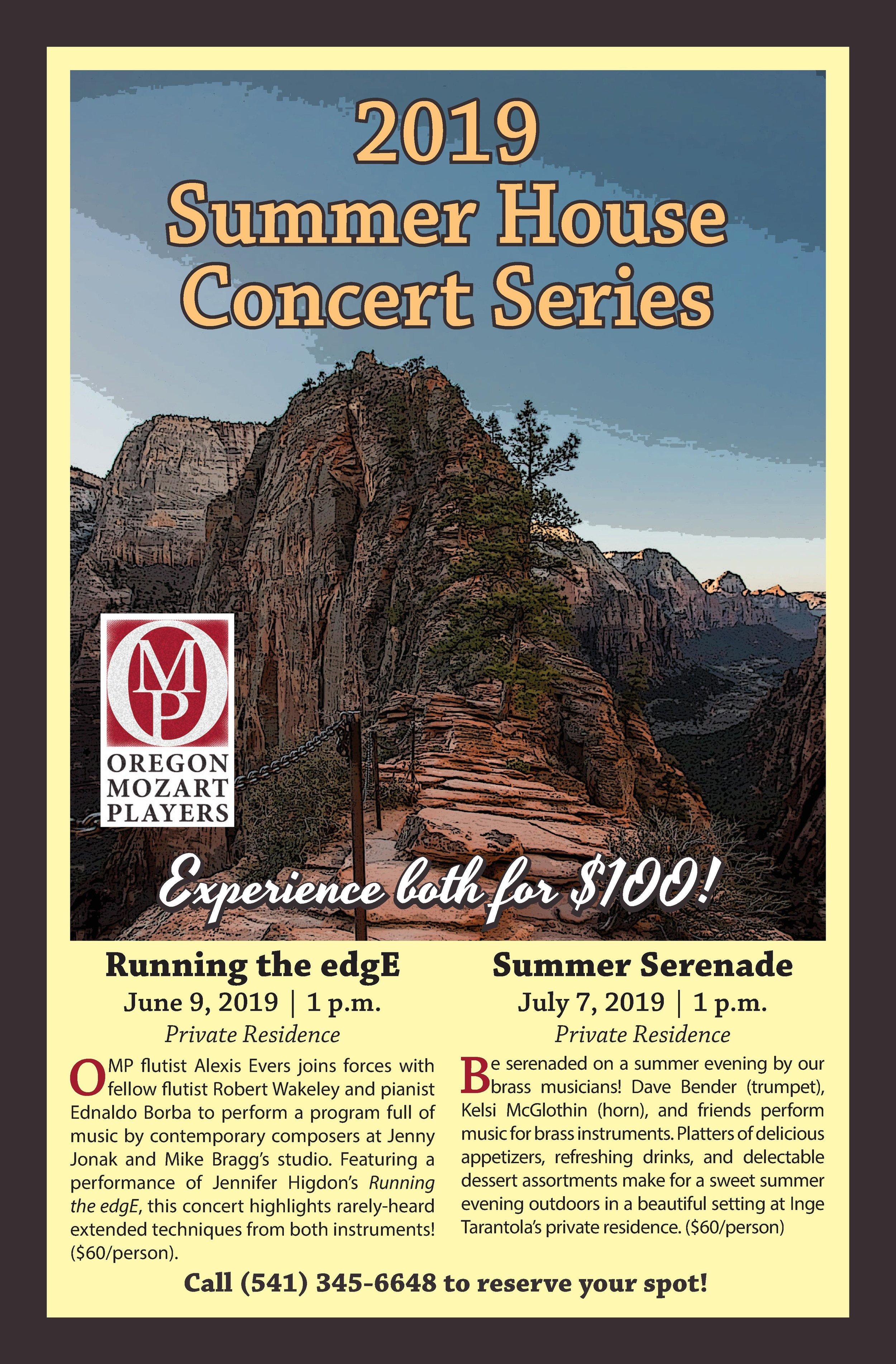 2019 Summer House Concert Series - Even though our 2018-2019 season has ended, we're still bringing you up-close-and-personal concert experiences this summer with two unique programs in small venues!Both events are taking place in private residences; in order to protect the privacy of our gracious hosts, we will confirm locations with you once you have purchased your ticket(s).Both events are catered and capacity is limited, so get your tickets today by scrolling down on this page or calling our office at (541) 345-6648! More details on both events below.