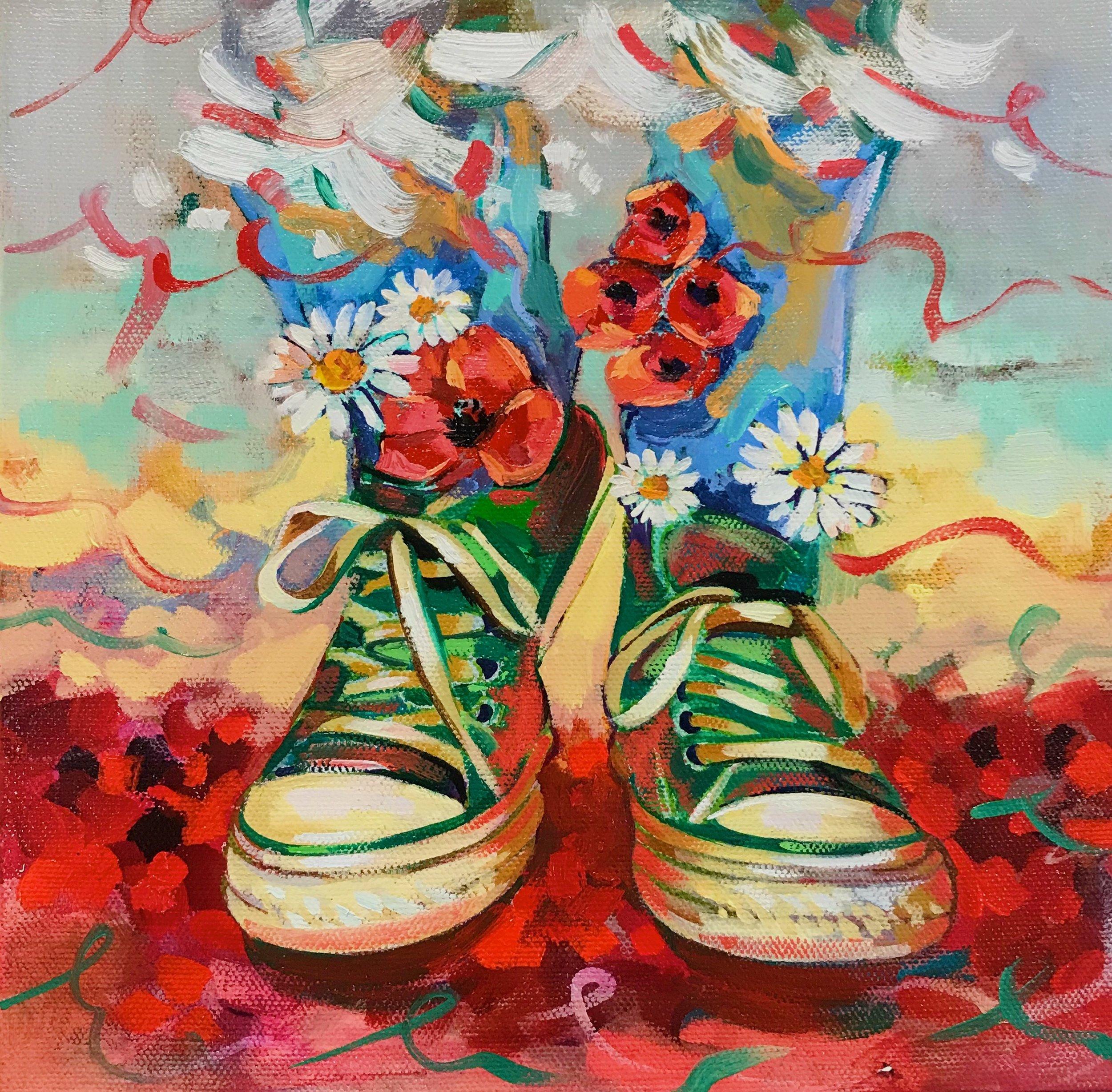 """""""Poppy field"""" Elli's shoes"""
