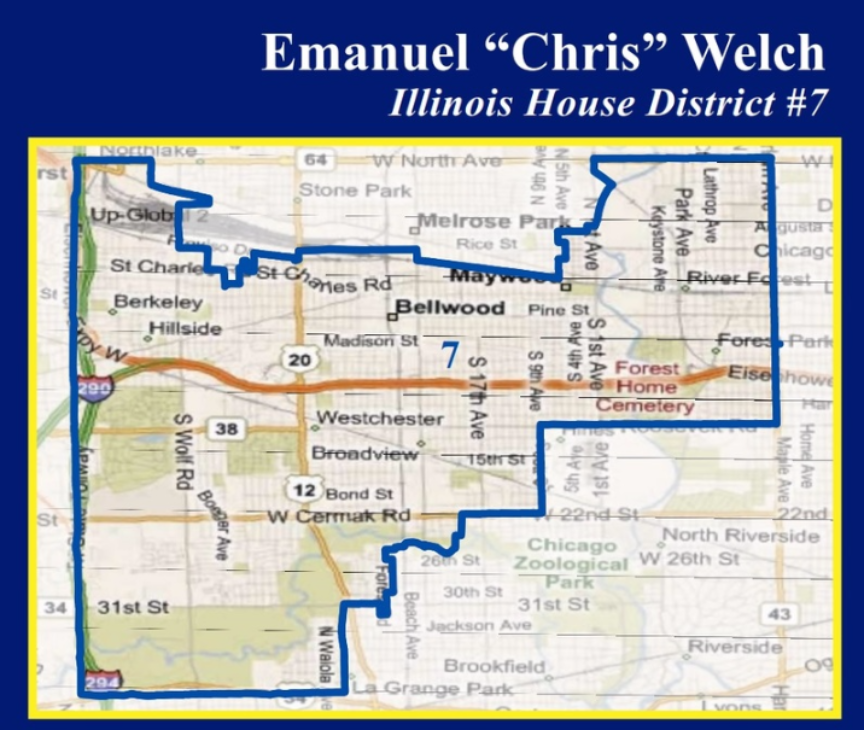 The 7th District of Illinois includes all or portions of River Forest, Forest Park, Maywood, Bellwood, Broadview, Hillside, Berkeley, Westchester, La Grange Park, Melrose Park, Western Springs, and Northlake.