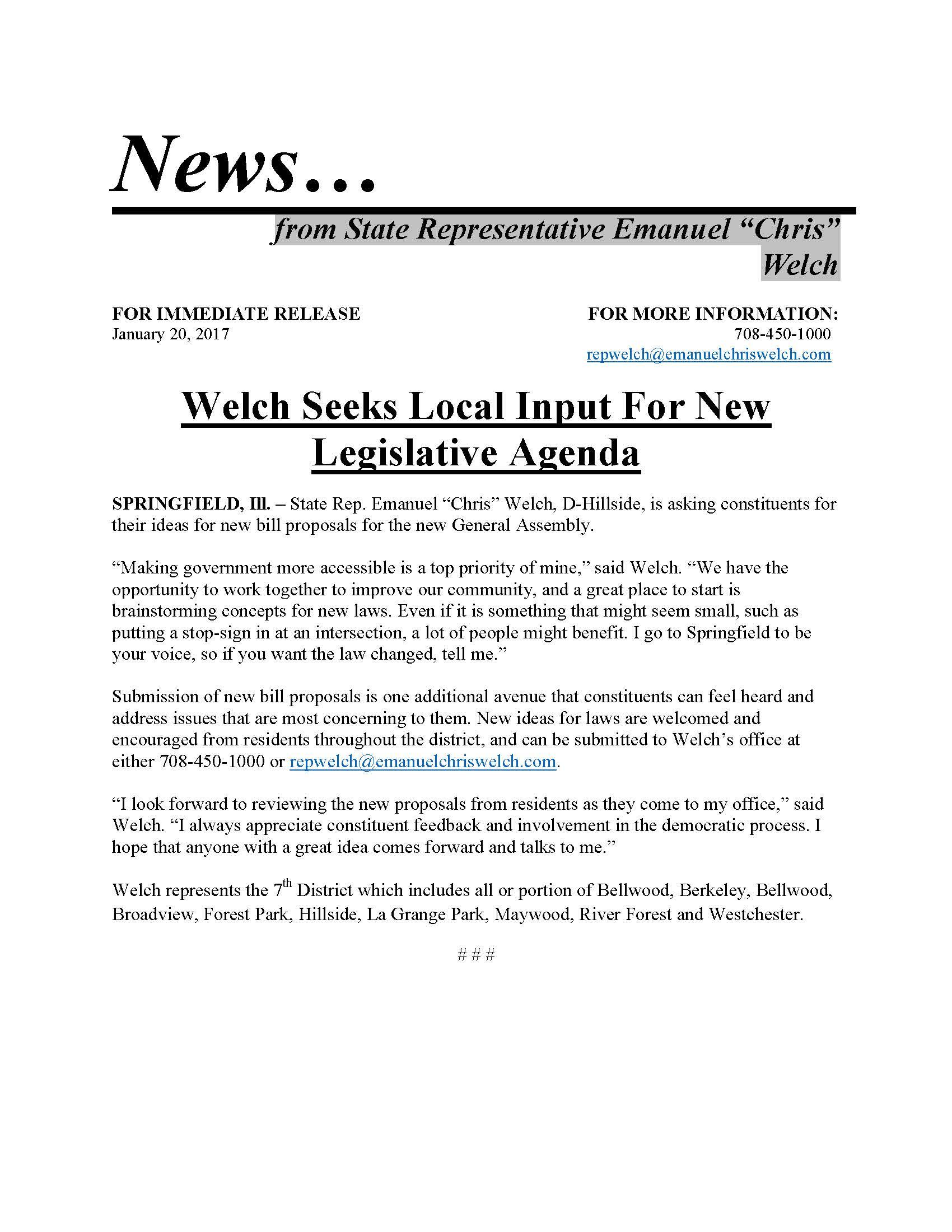 Welch Seeks Local Input for New Legislative Agenda  (January 20, 2017)
