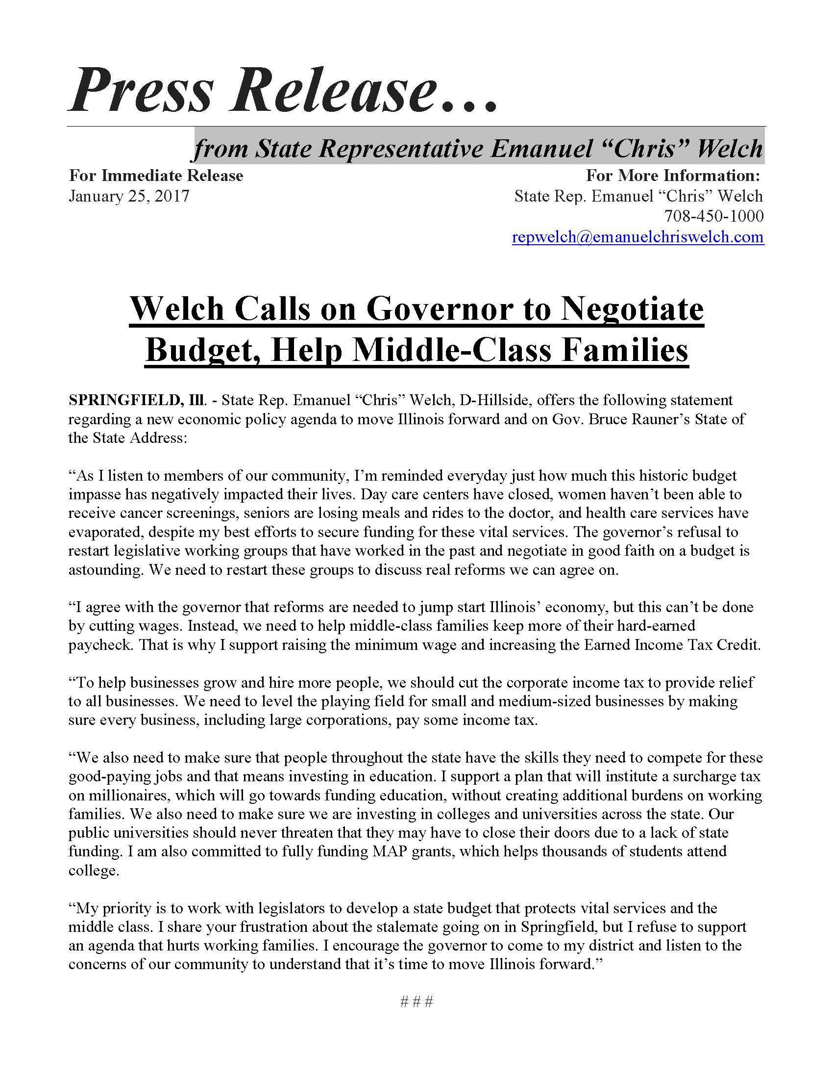 Welch Calls on Governor to Negotiate Budget, Help Middle-Class Families  (January 25, 2017)