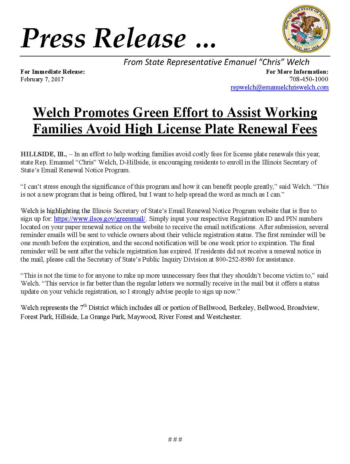 Welch Promotes Green Effort to Assist Working Families Avoid High License Plate Renewal Fees  (February 7, 2017)