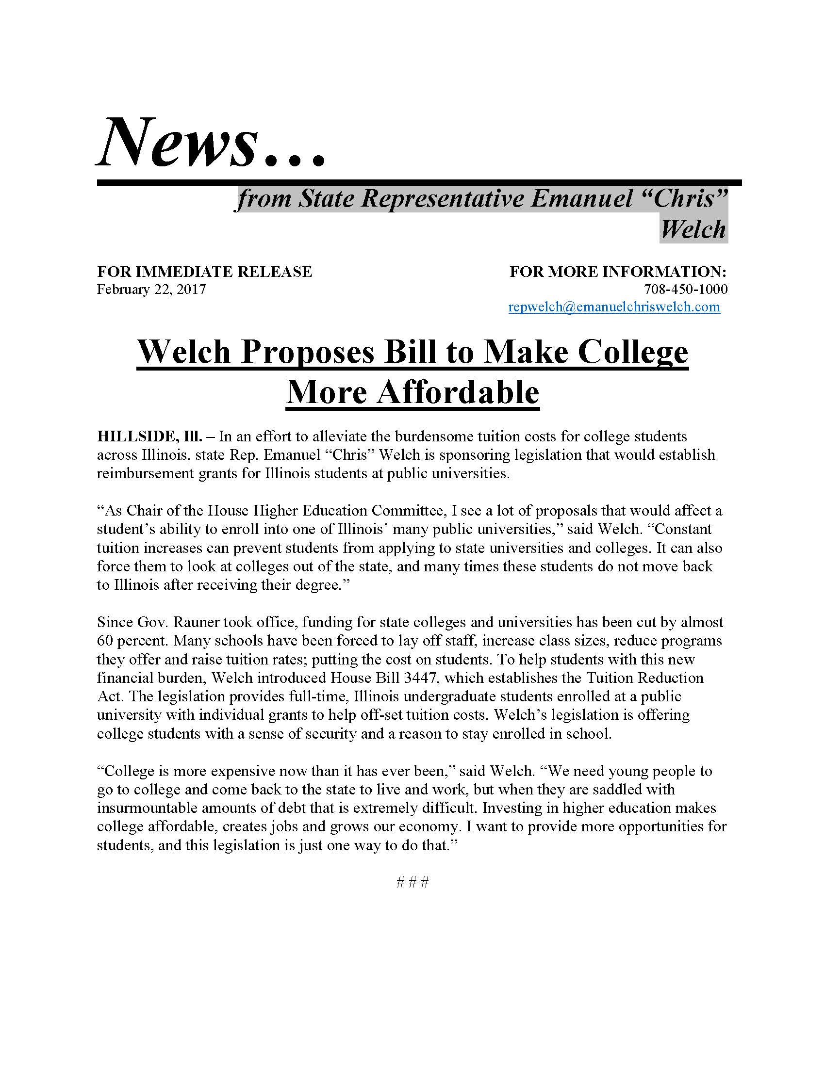 Welch Proposes Bill to Make College More Affordable  (February 22, 2017)