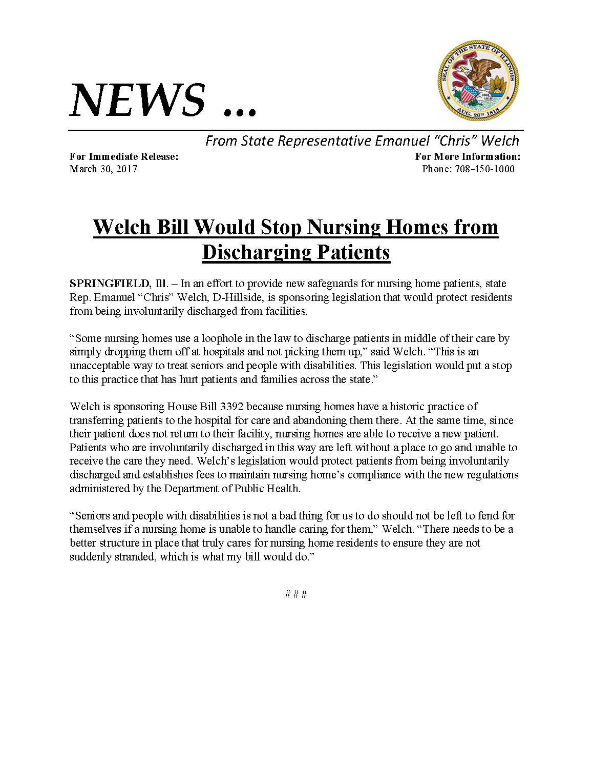 Welch Bill Would Stop Nursing Homes from Discharging Patients  (March 30, 2017)
