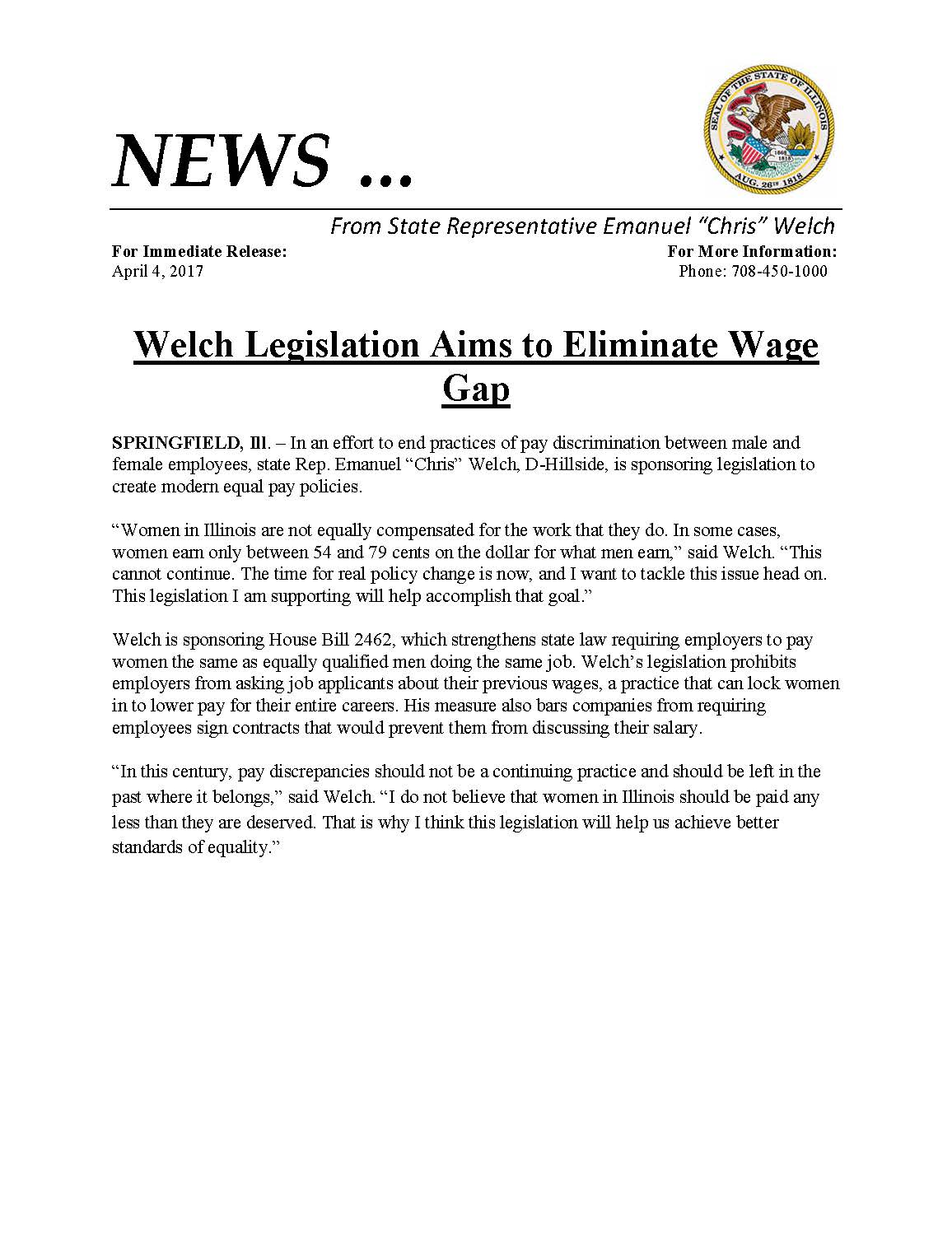Welch Legislation Aims to Eliminate Wage Gap  (April 4, 2017)