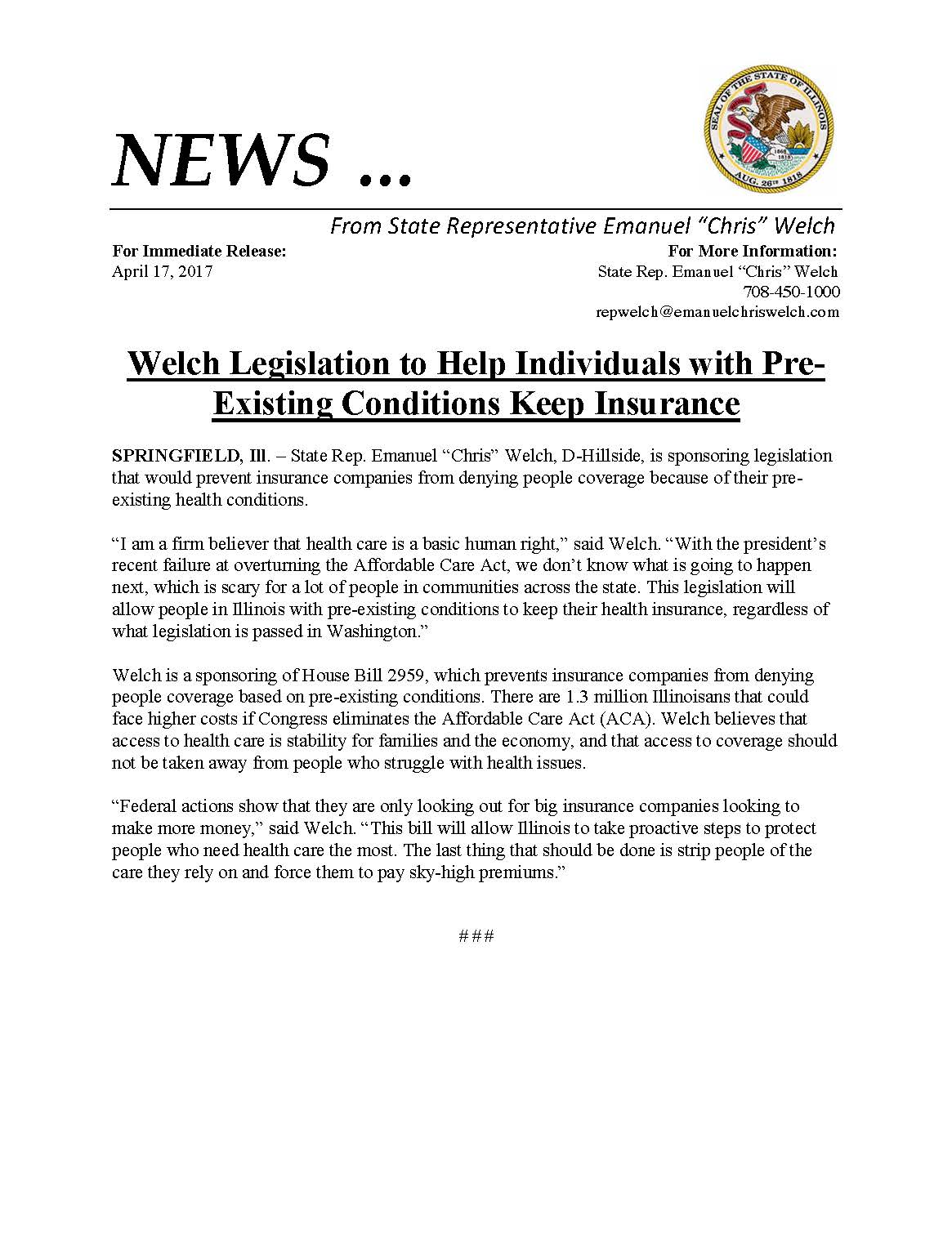 Welch Legislation to Help Individuals with Pre-Existing Conditions Keep Insurance  (April 17, 2017)