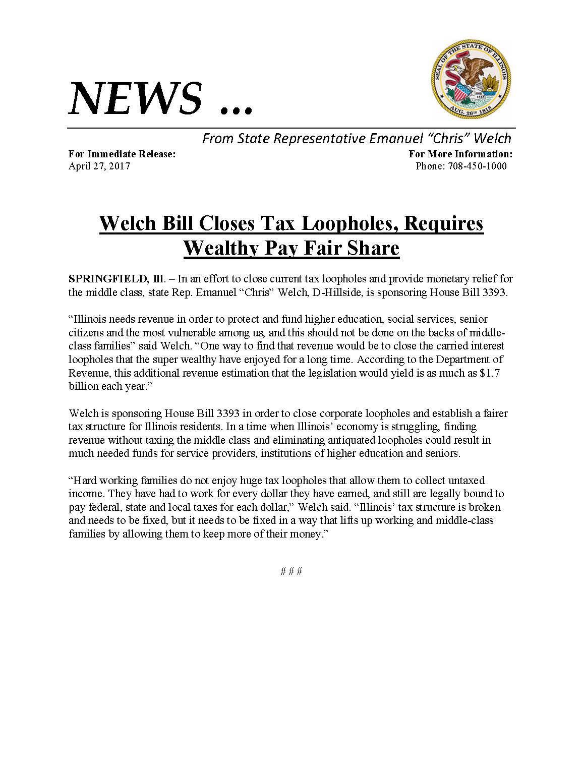 Welch Bill Closes Tax Loopholes  (April 27, 2017)