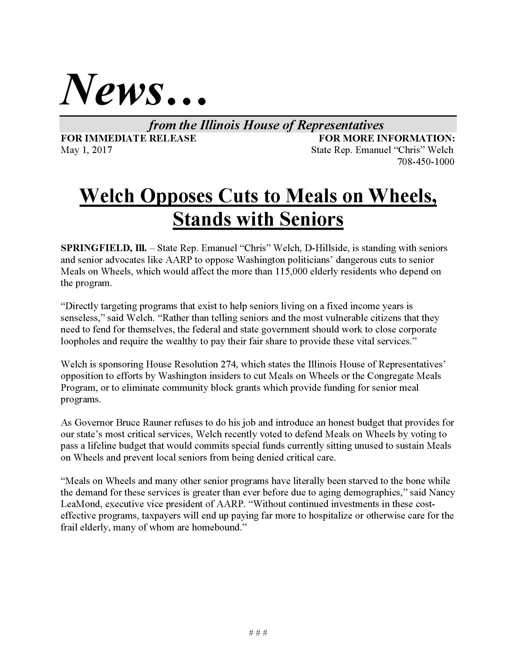 Welch Opposes Cuts to Meals on Wheels  (May 1, 2017)