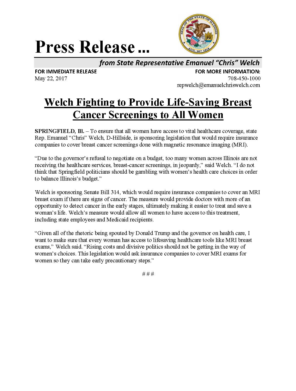 Welch Fighting to Provide Life-Saving Breast Cancer Screenings to All Women  (May 22, 2017)