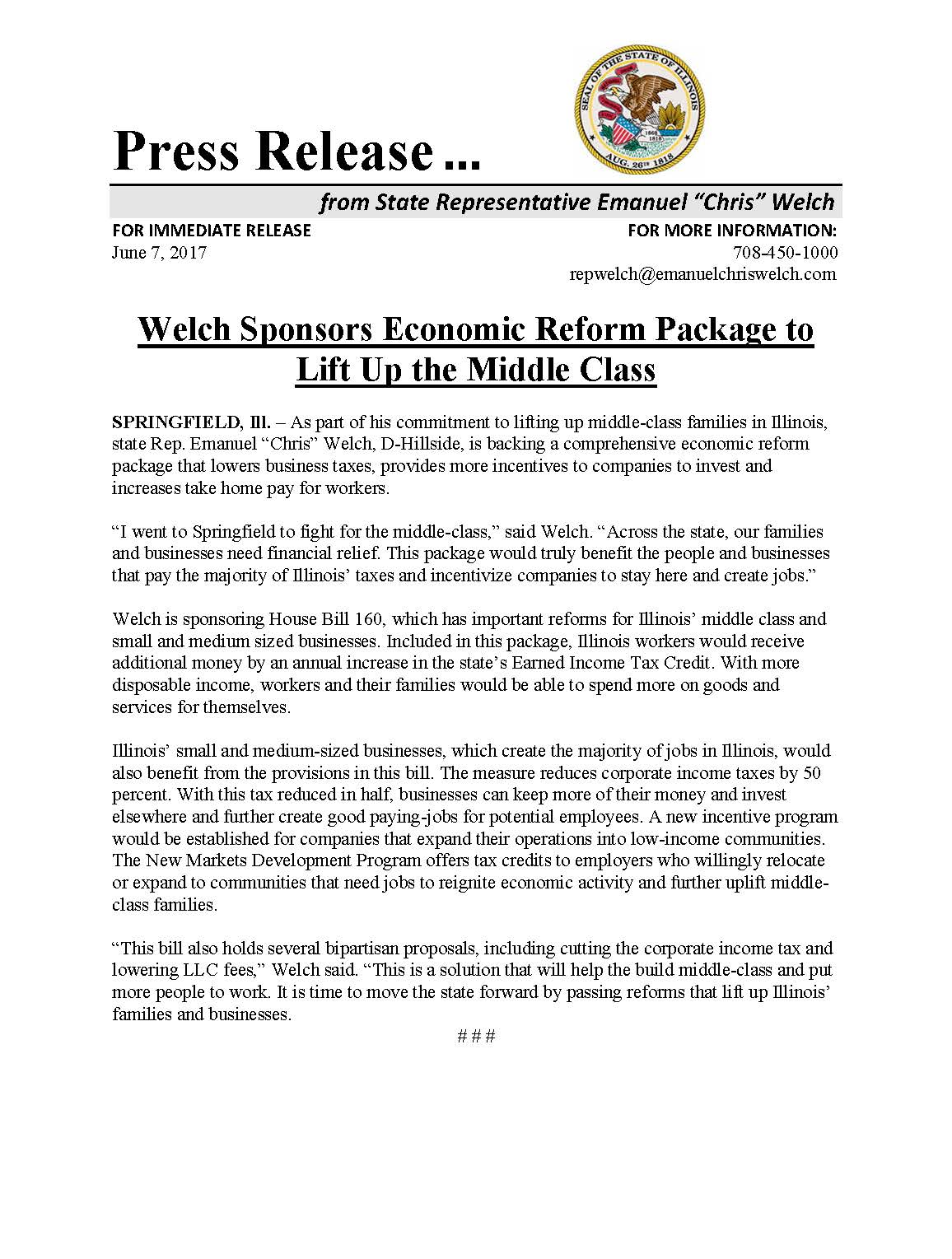 Welch Sponsors Economic Reform Package to Lift Up the Middle Class  (June 7, 2017)