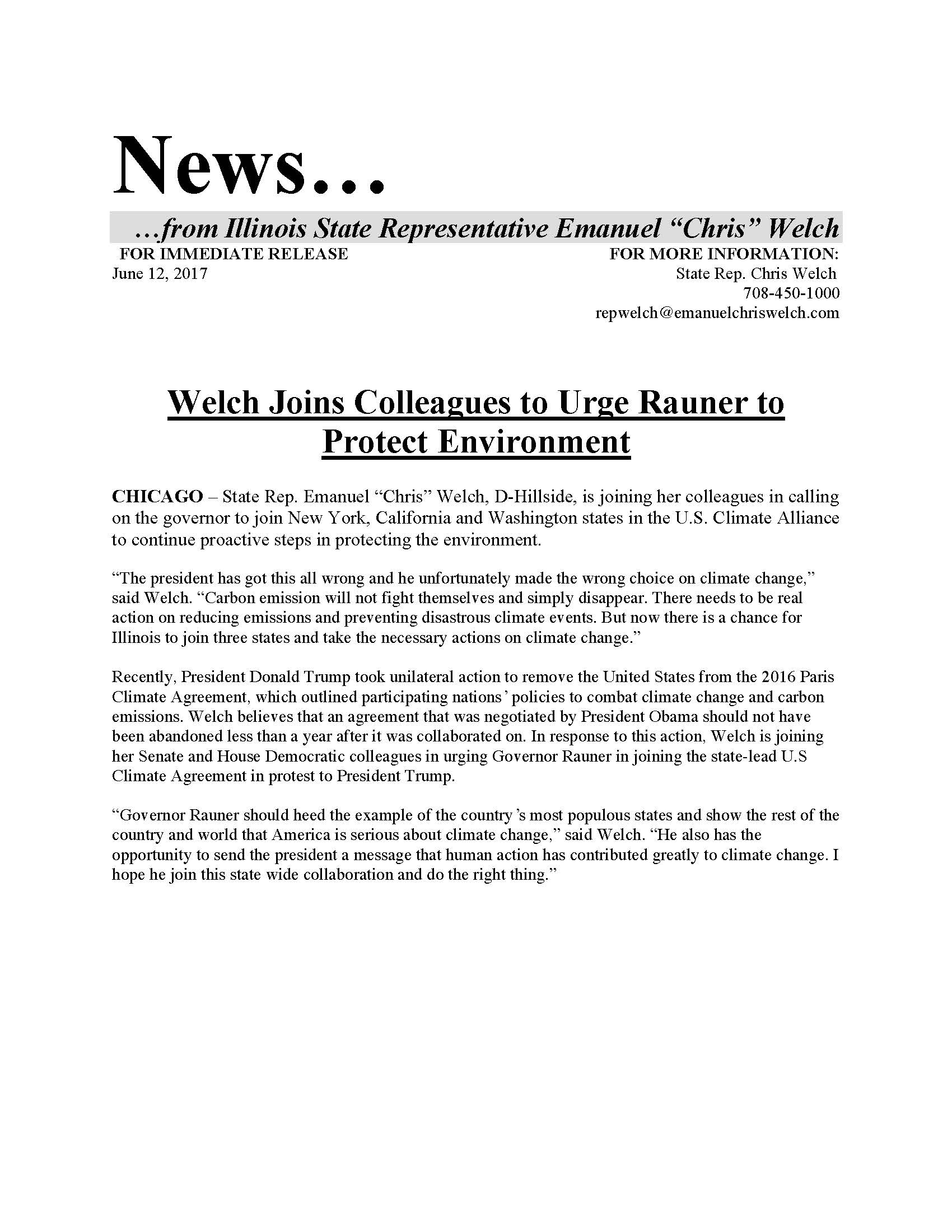 Welch Joins Colleagues to Urge Rauner to Protect Environment  (June 12, 2017)
