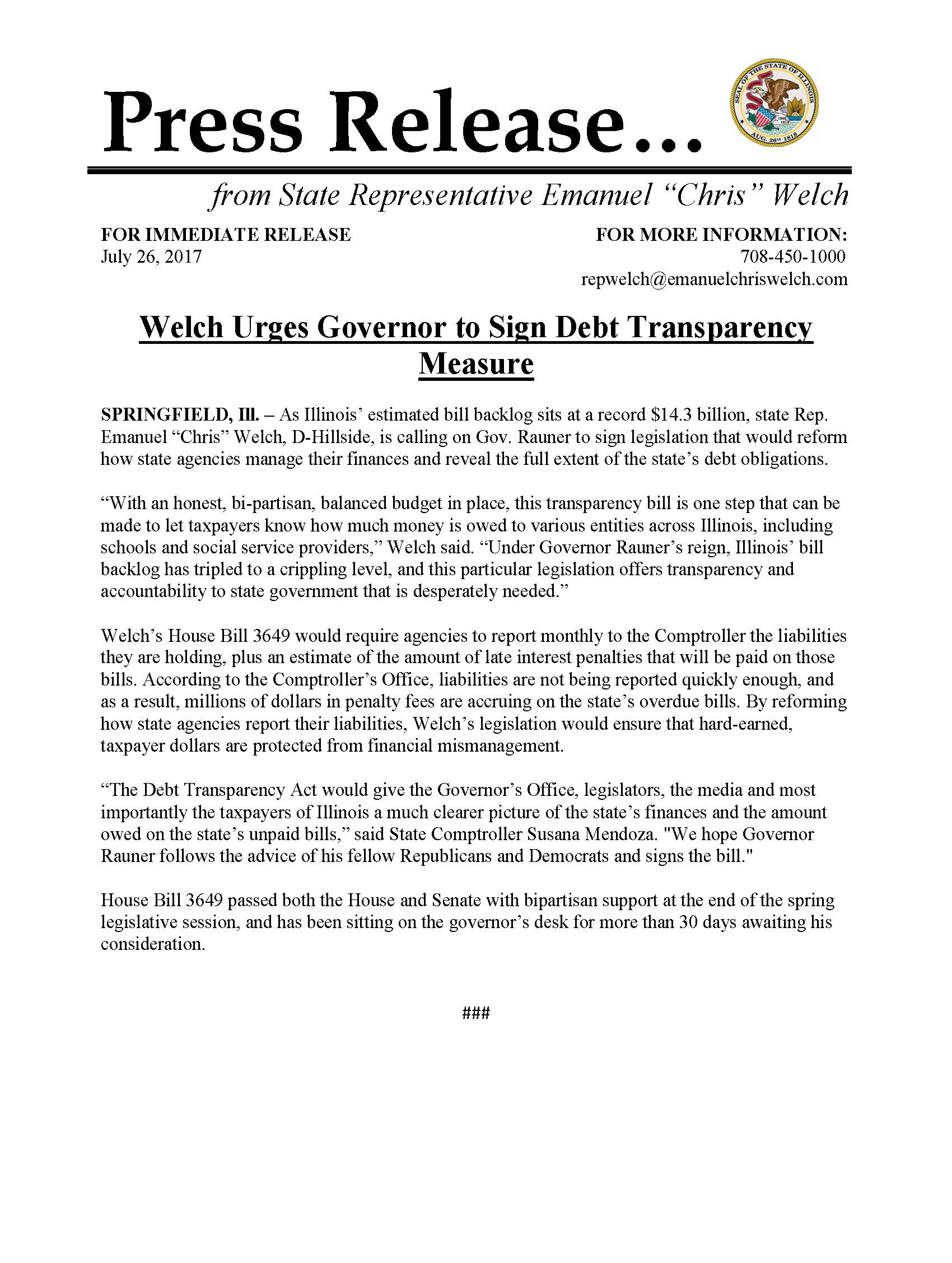 Welch Urges Governor to Sign Debt Transparency Measure  (July 26, 2017)