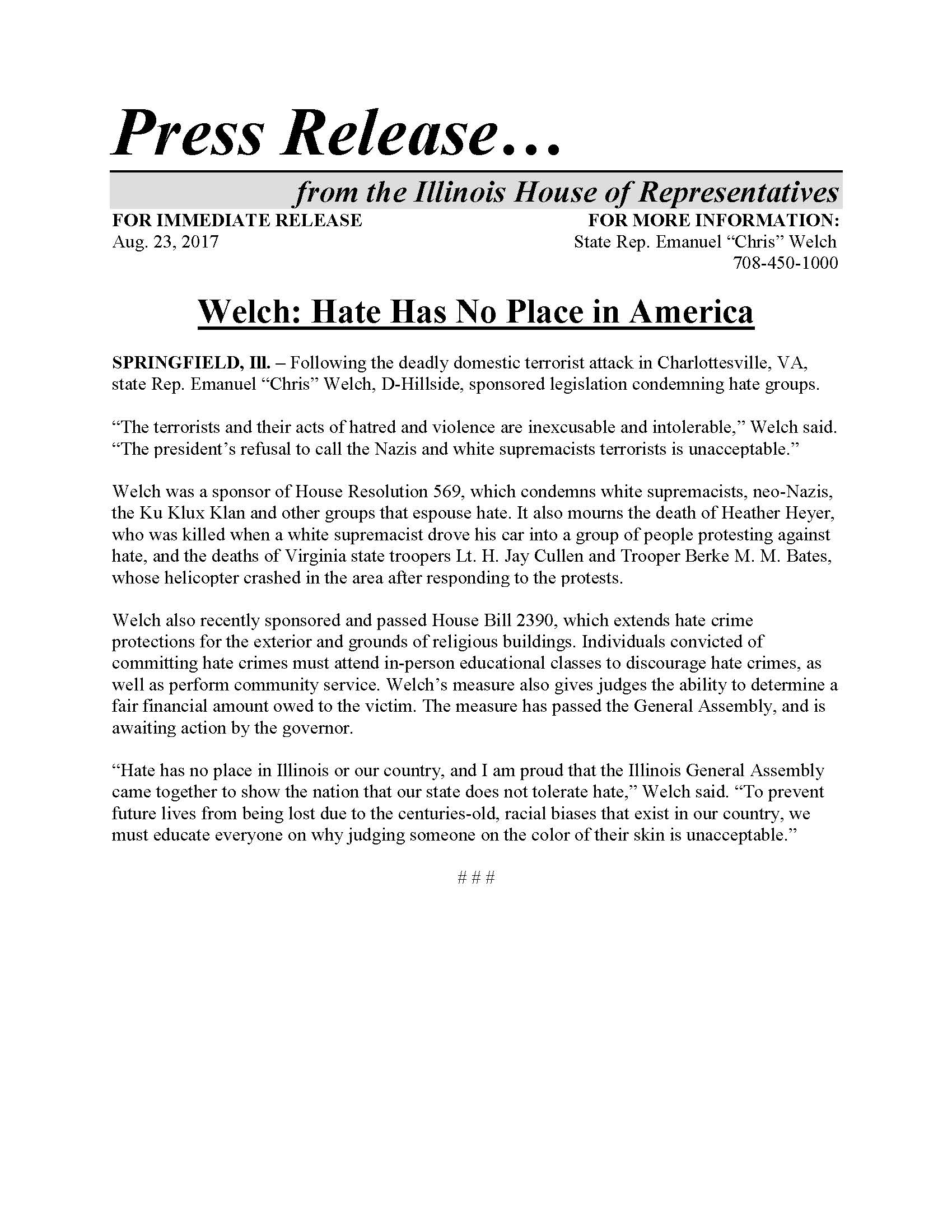 Welch: Hate Has No Place in America  (August 23, 2017)