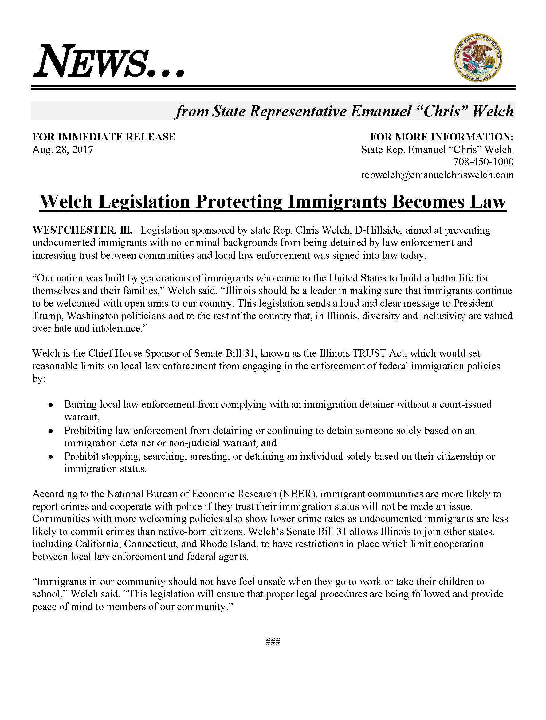 Welch Legislation Protecting Immigrants Becomes Law  (August 28, 2017)